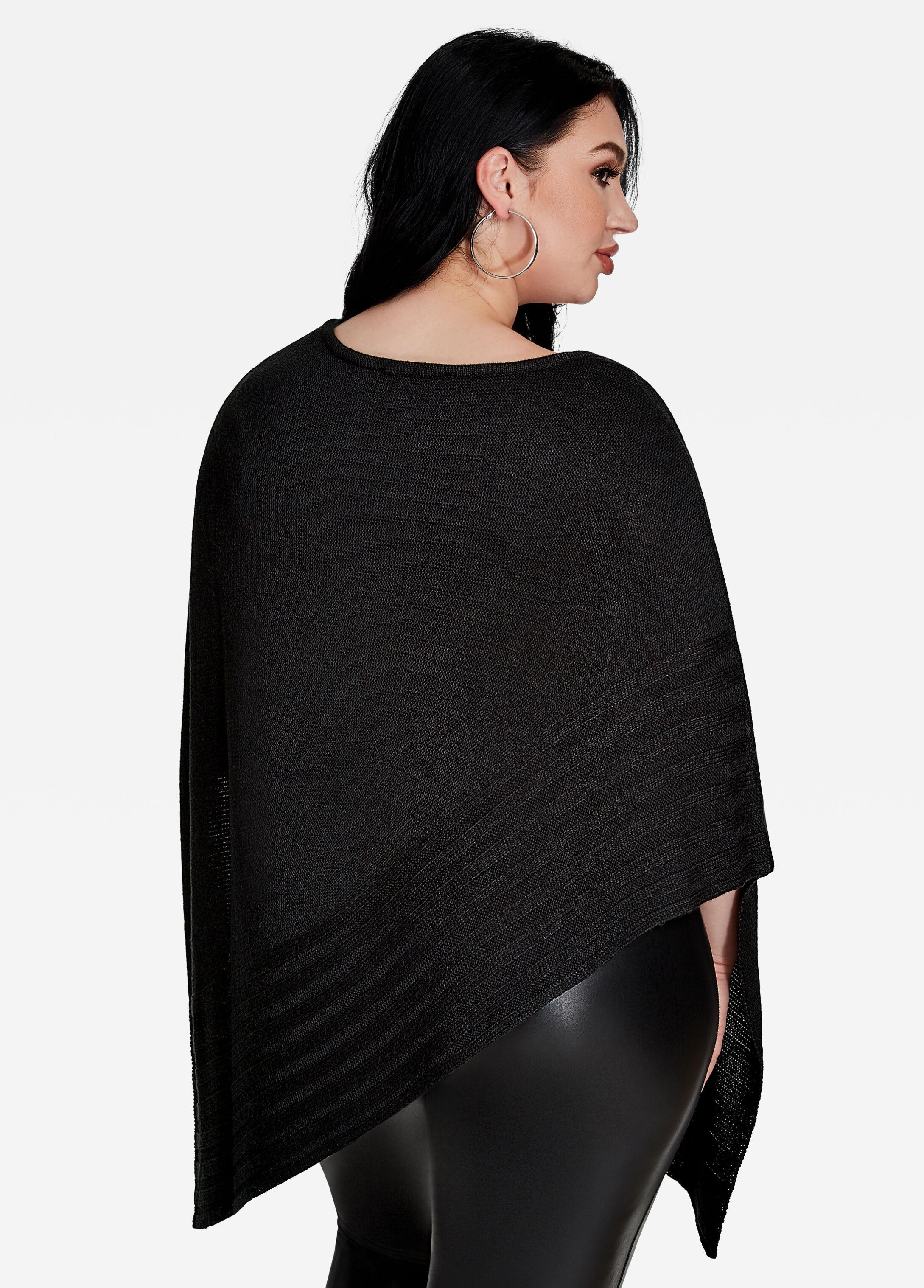 Buy Soft Knit Poncho Sweater Black - Sweaters