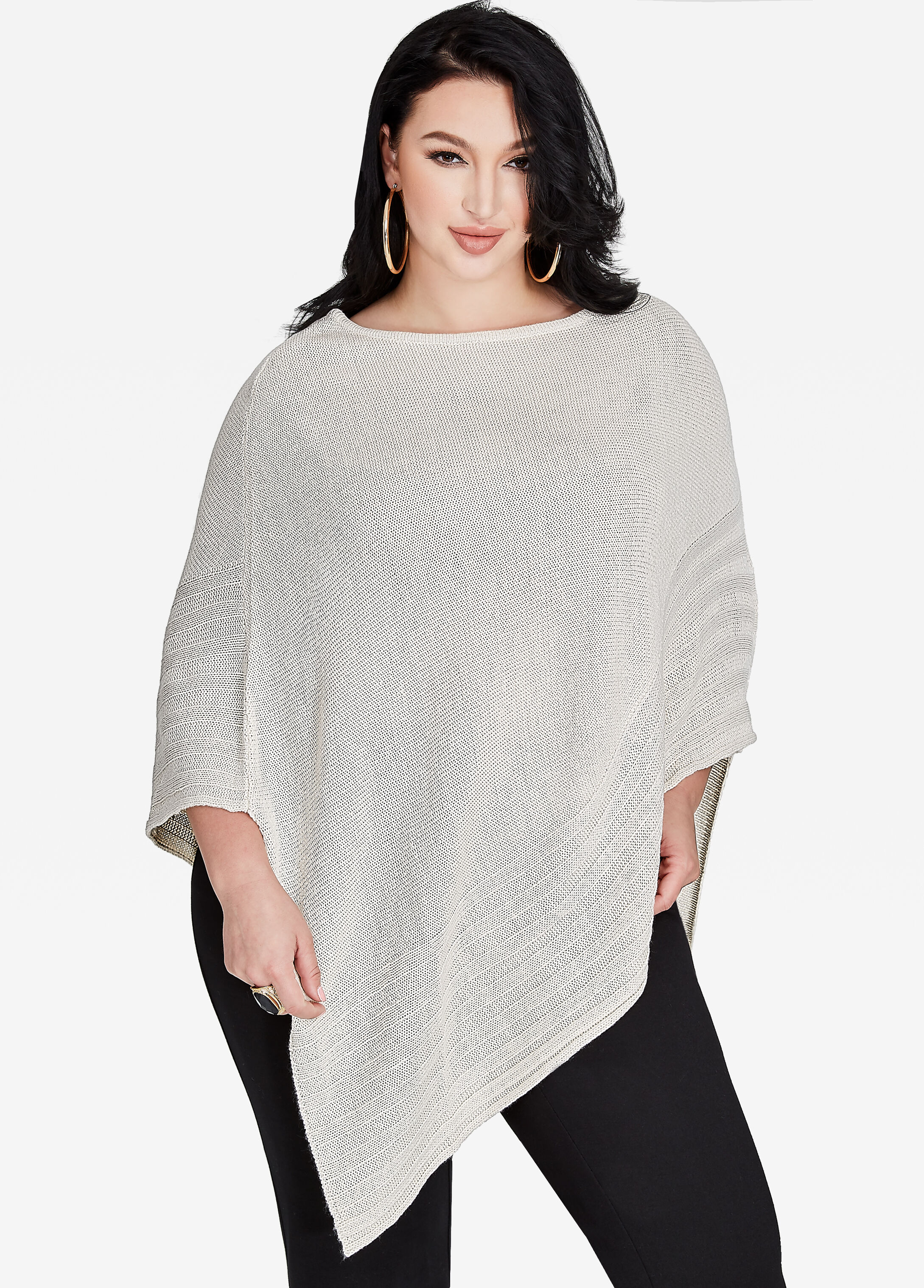 Buy Soft Knit Poncho Sweater Black - Sweaters