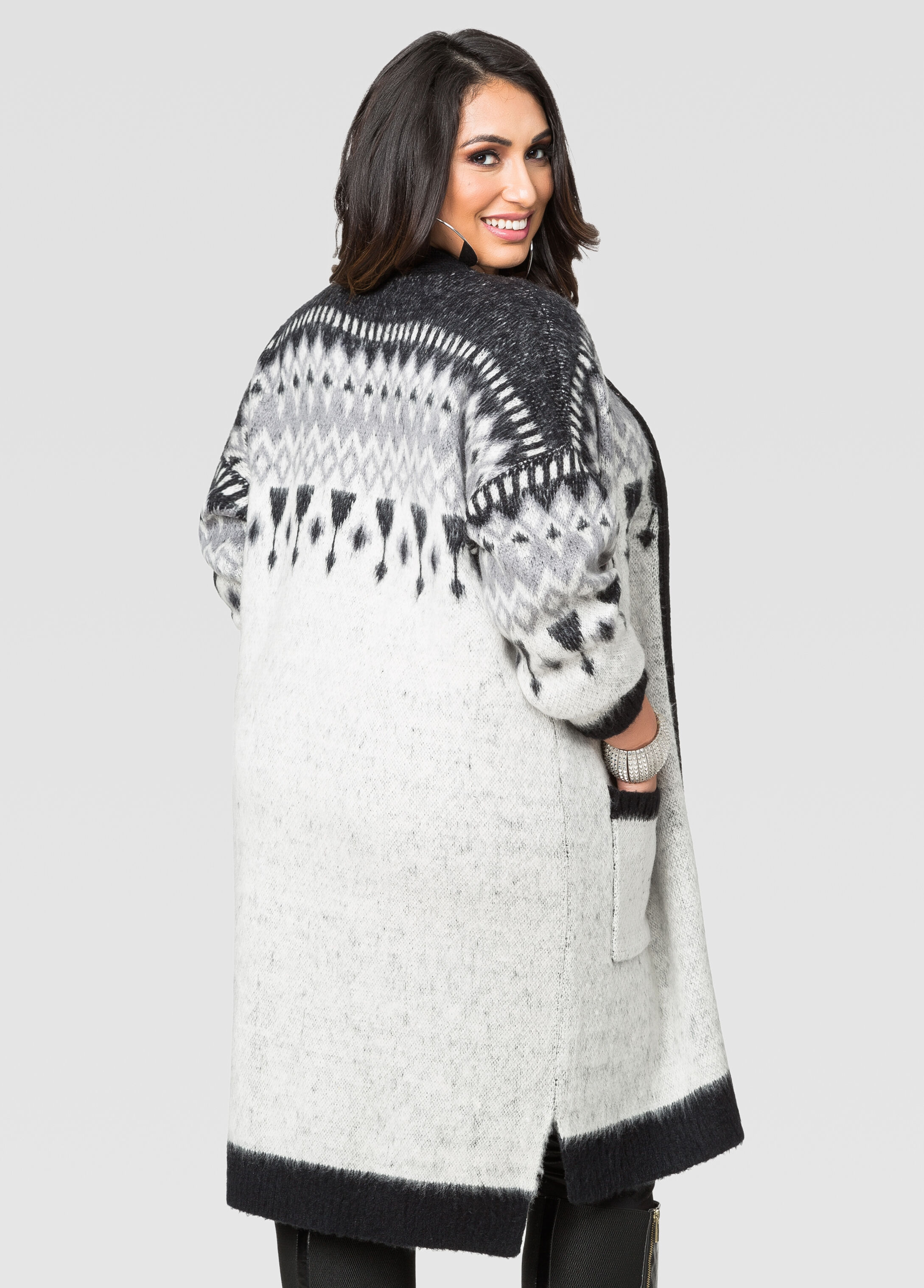 Geo Print Boyfriend Cardigan Sweater-Plus Size Sweaters-Ashley Stewart
