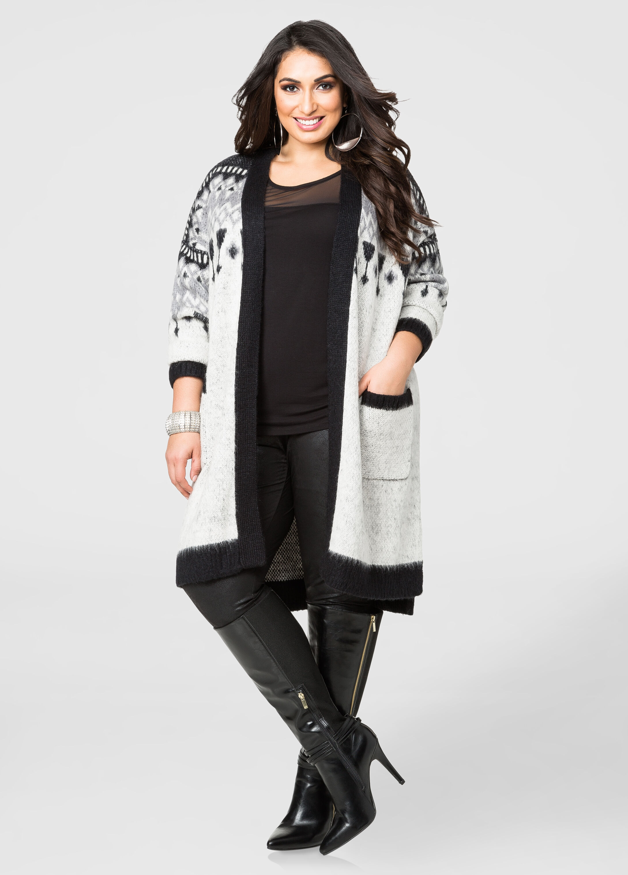 Geo Print Boyfriend Cardigan Sweater-Plus Size Sweaters-Ashley Stewart