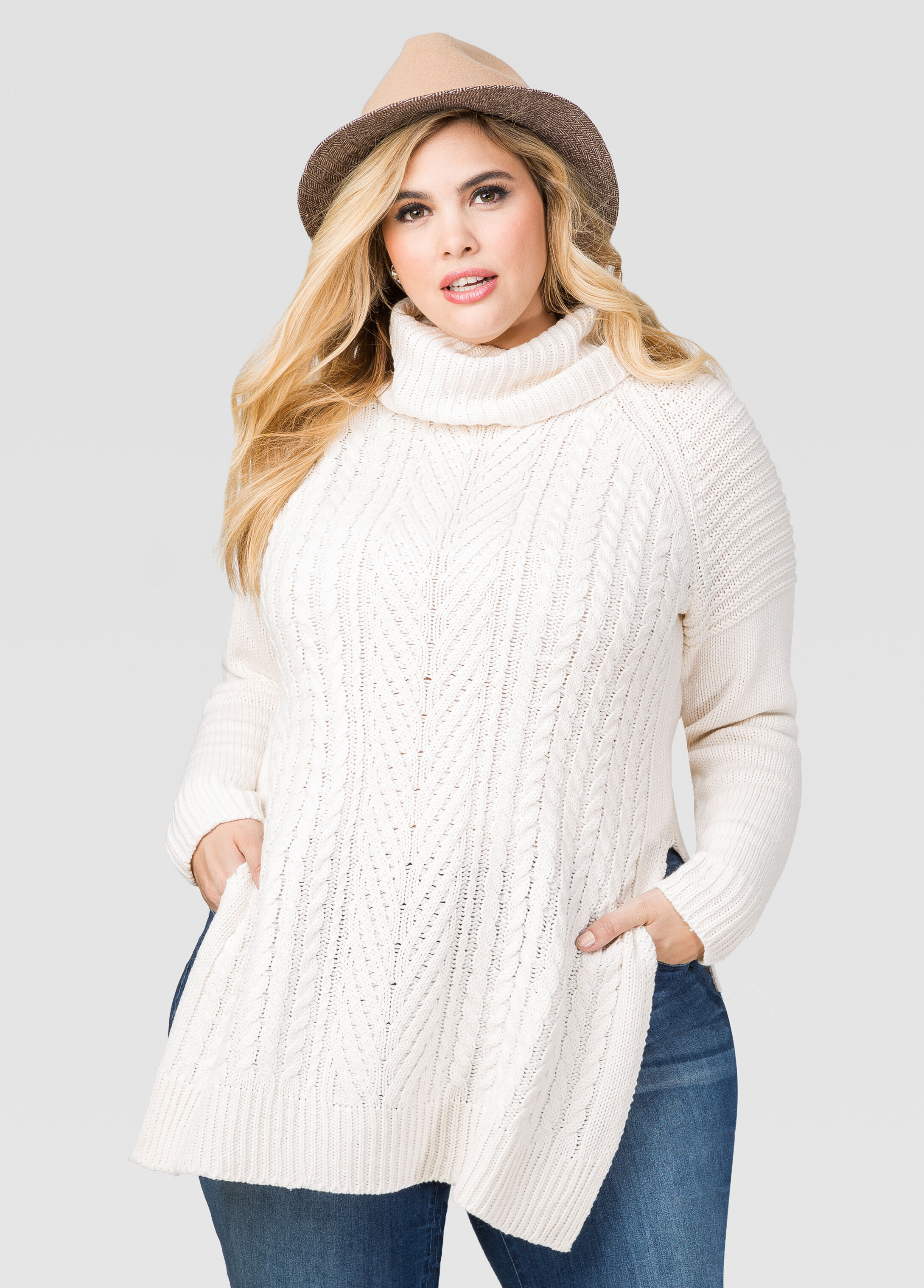 Plus Size Cable Knit Turtleneck Sweater 042-6AD18XX