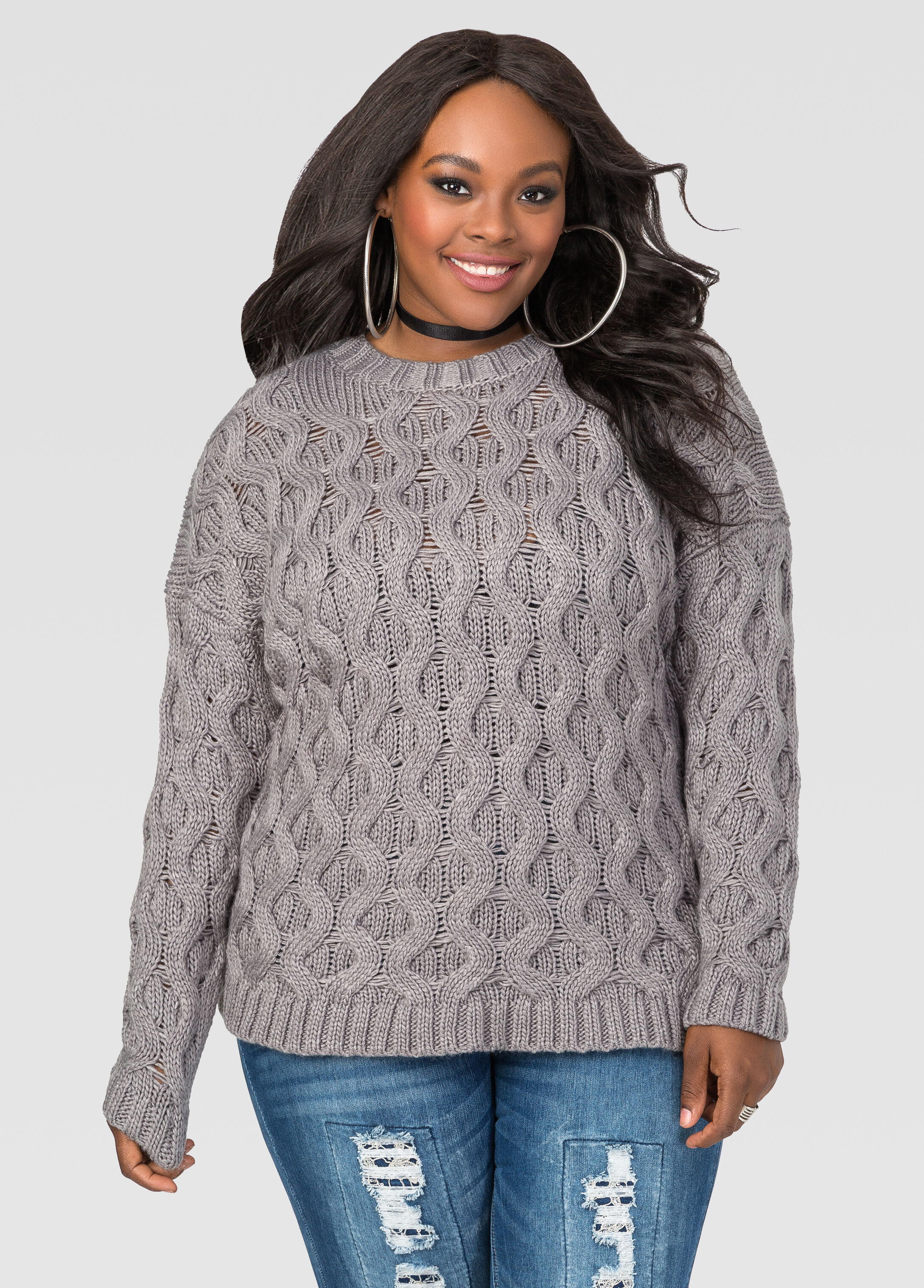 Plus Size Cable Knit Pullover Sweater 042-6AD22X