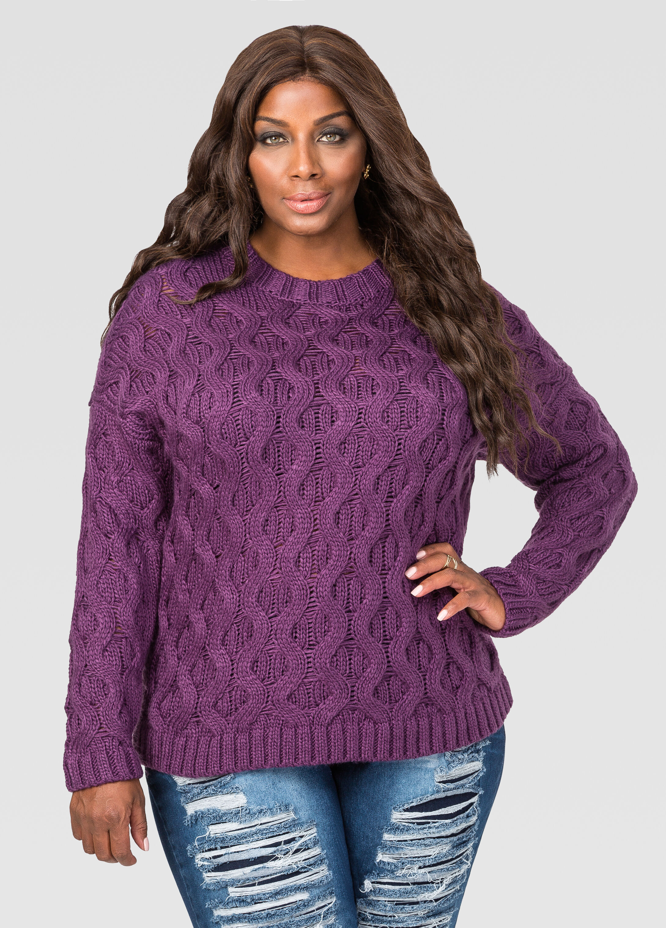 Cable Knit Pullover Sweater Plum Purple - Clearance