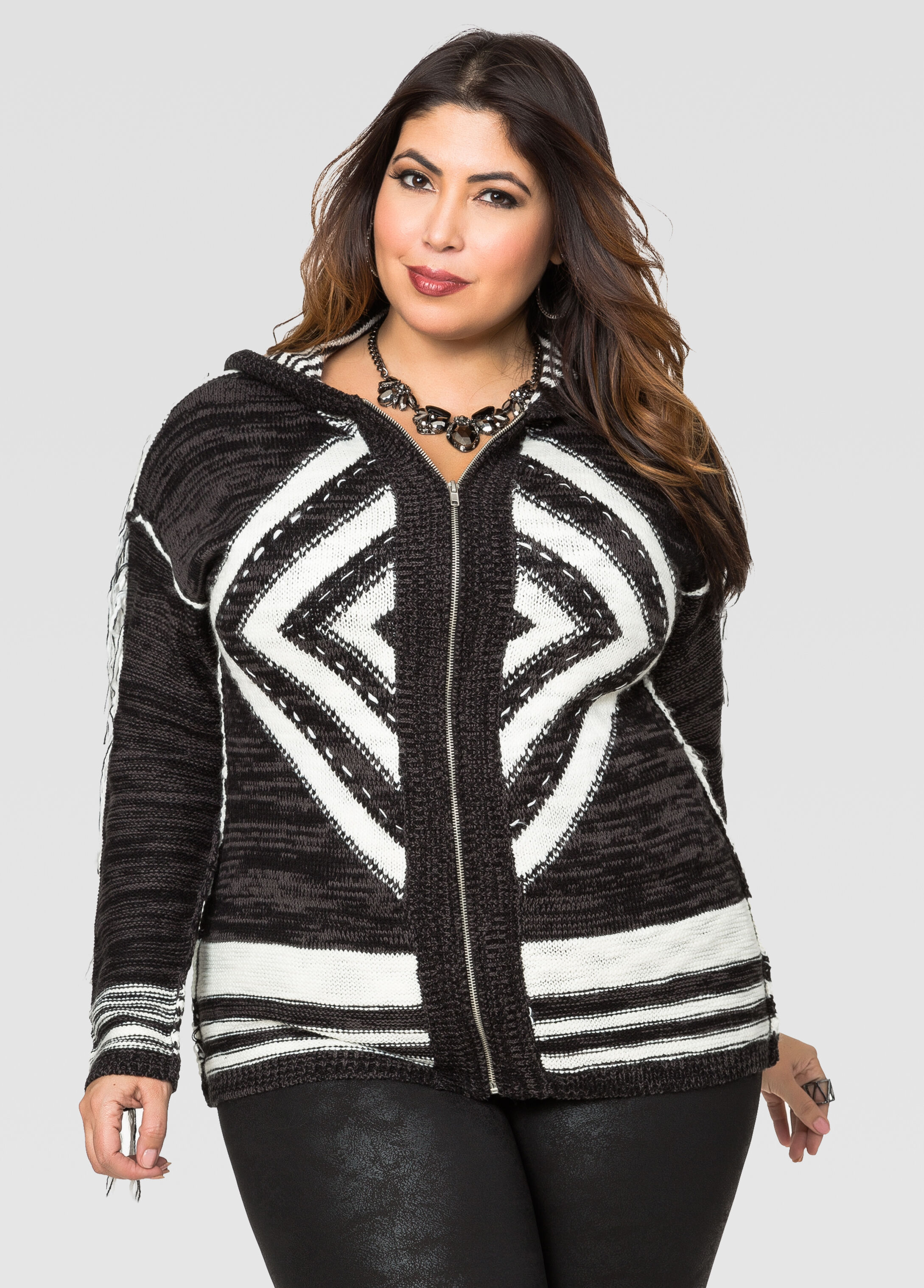 Zip Front Fringe Hoodie Cardigan-Plus Size Sweaters-Ashley Stewart