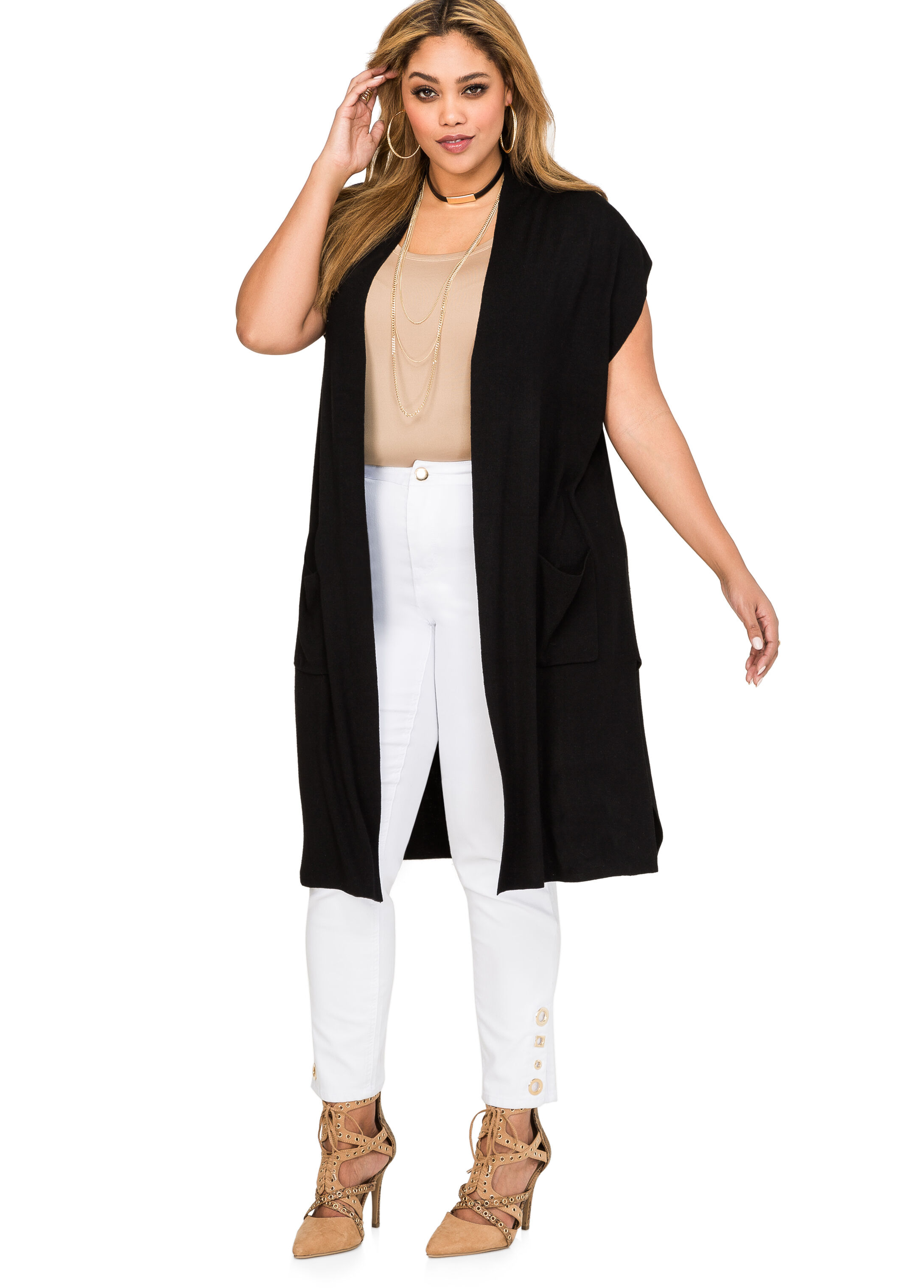 Plus Size Long Sleeveless Cardigan-042-804613XX