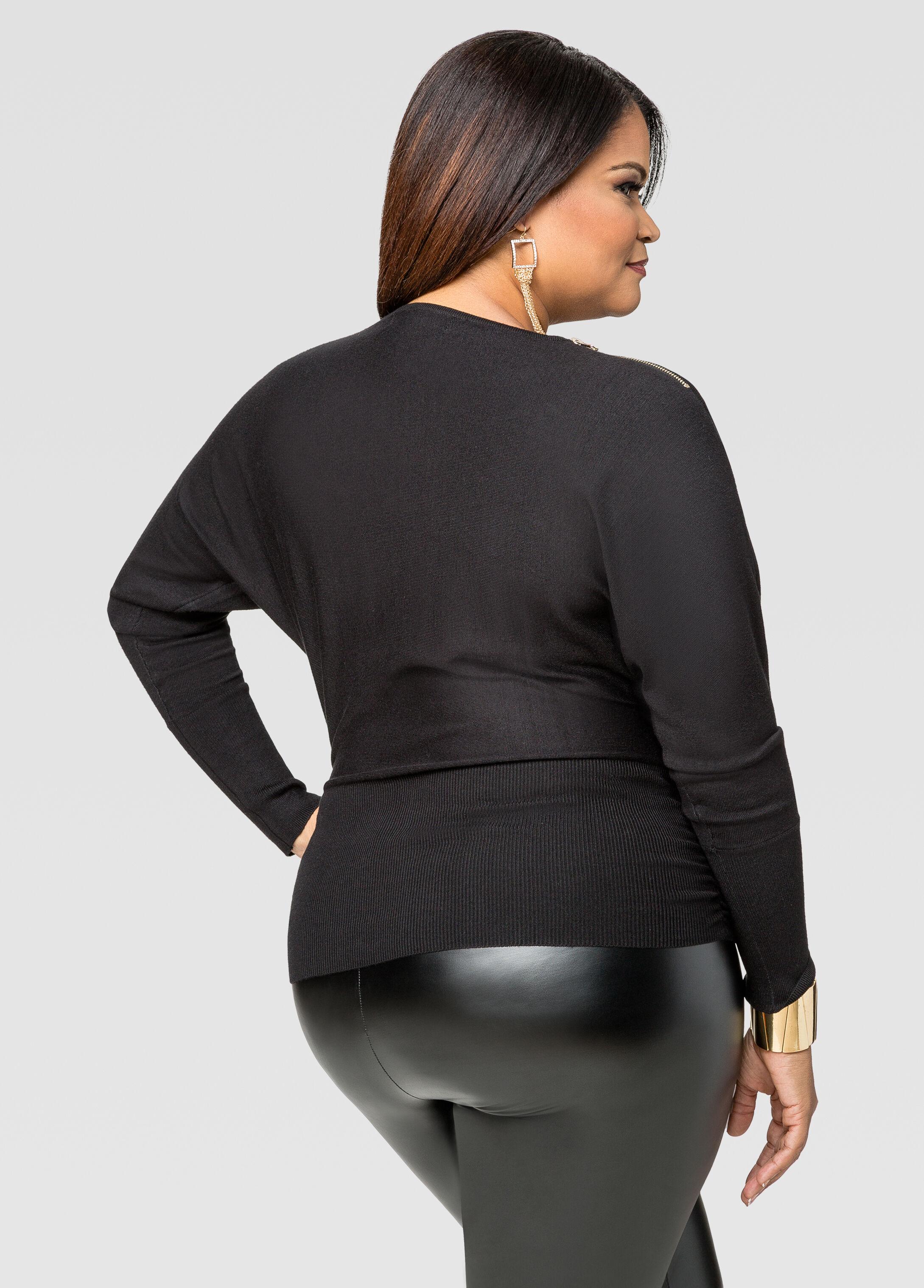 Zip Shoulder Cowl Neck Dolman Sweater-Plus Size Sweaters-Ashley ...