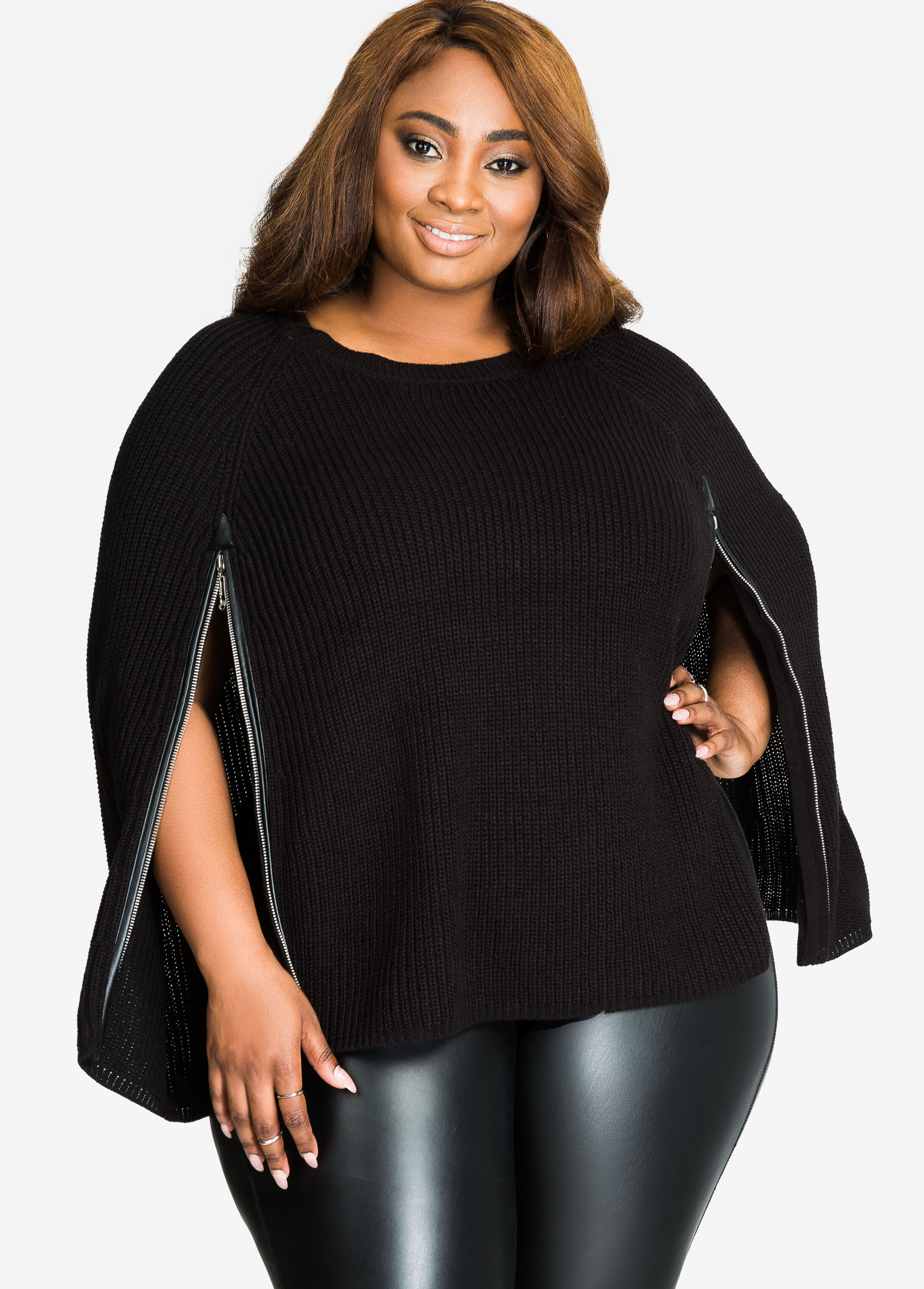 Zipper Front Sweater Cape Black - Clearance