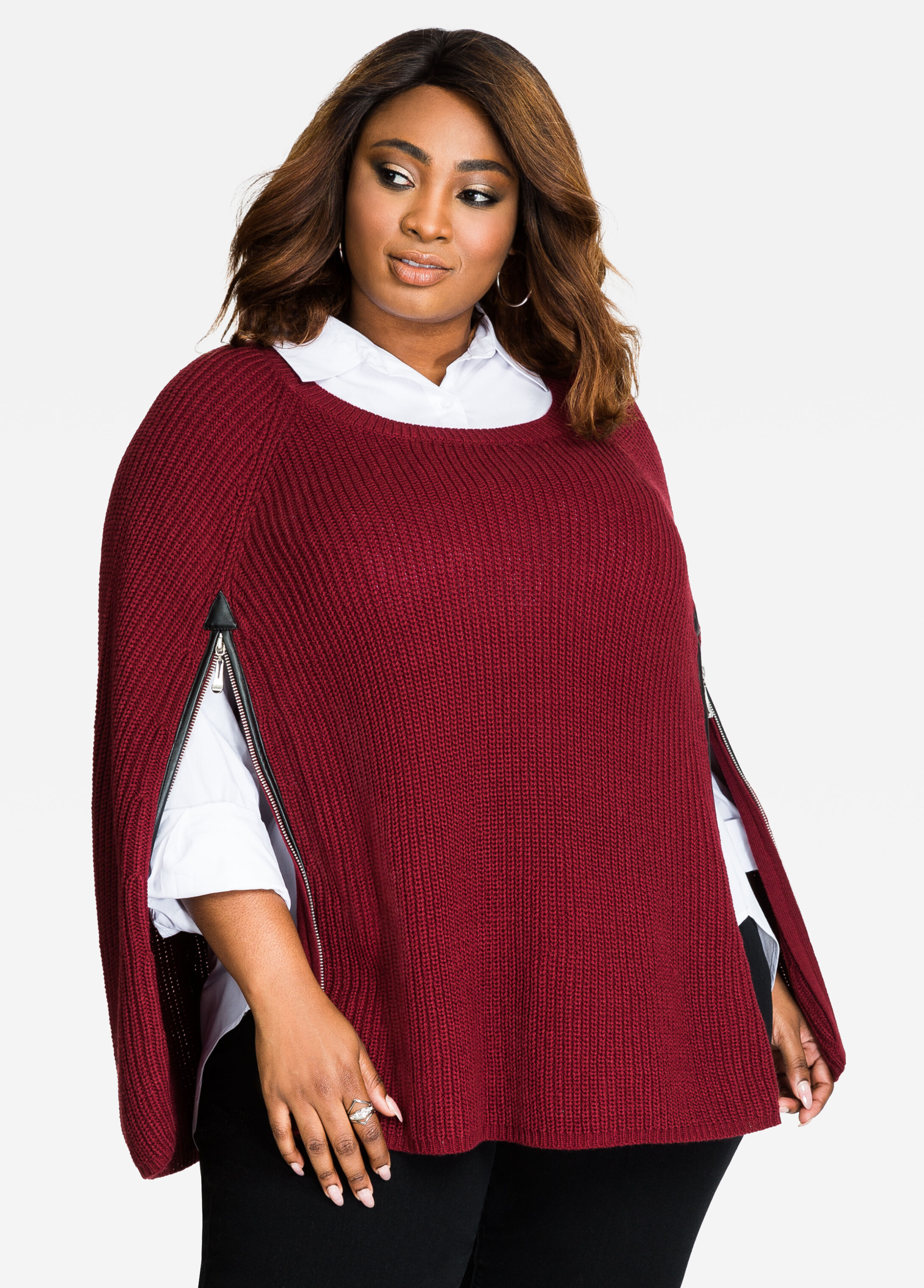 Zipper Front Sweater Cape Cabernet - Clearance
