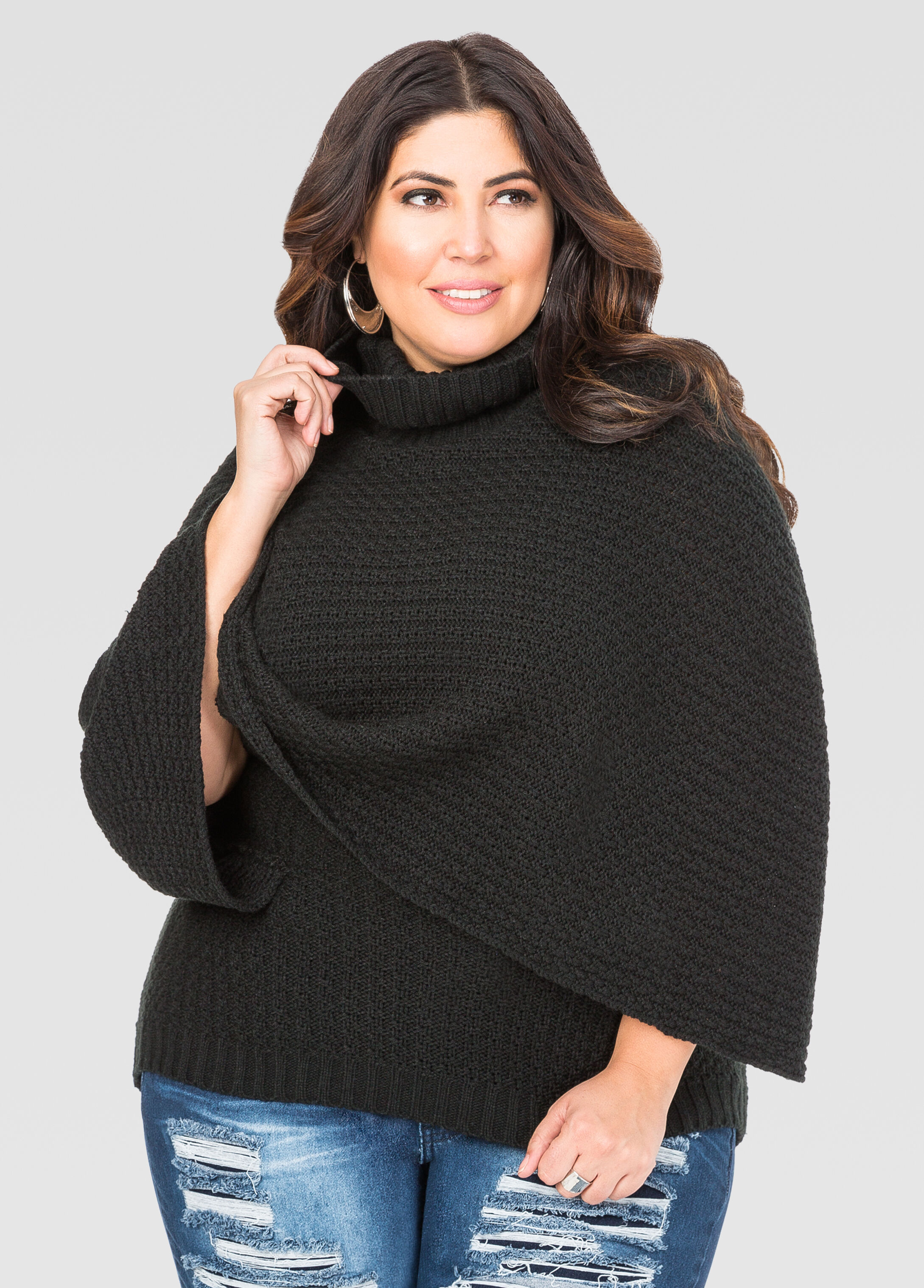 Plus Size Cowl Neck Poncho Sweater 042-AS4431X