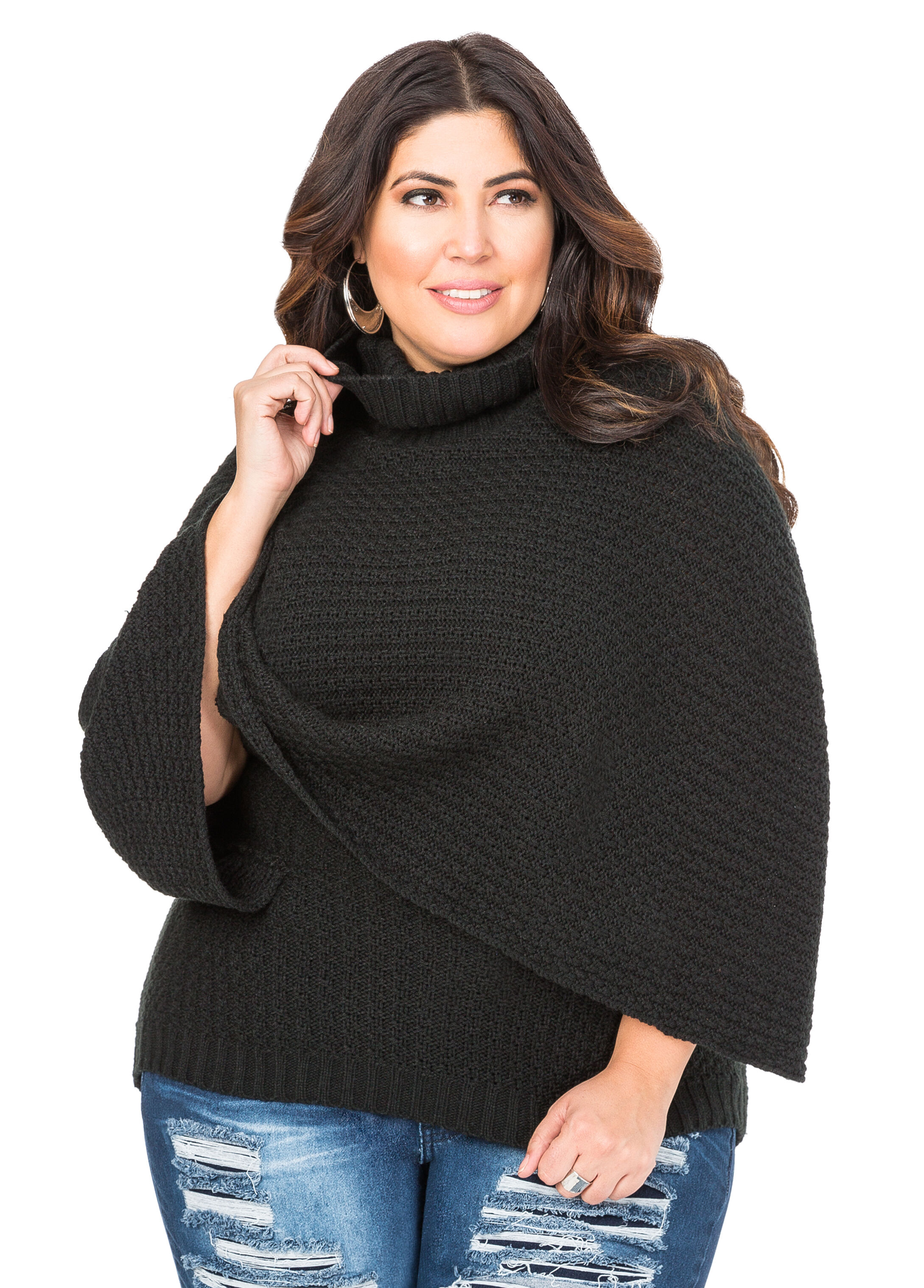 Plus Size Cowl Neck Poncho Sweater 042-AS4431X