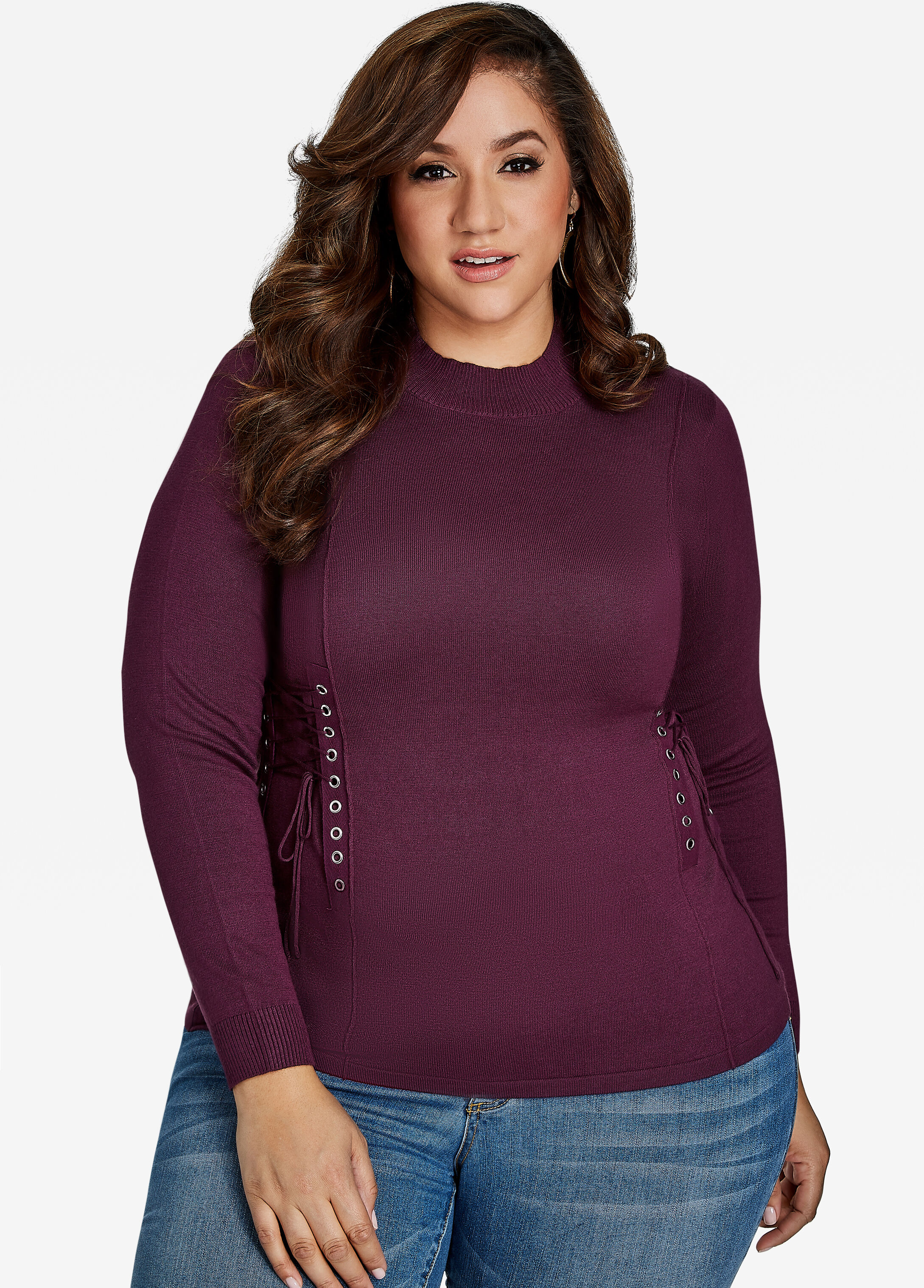 Lace Up Sweater Italian Plum - Clearance
