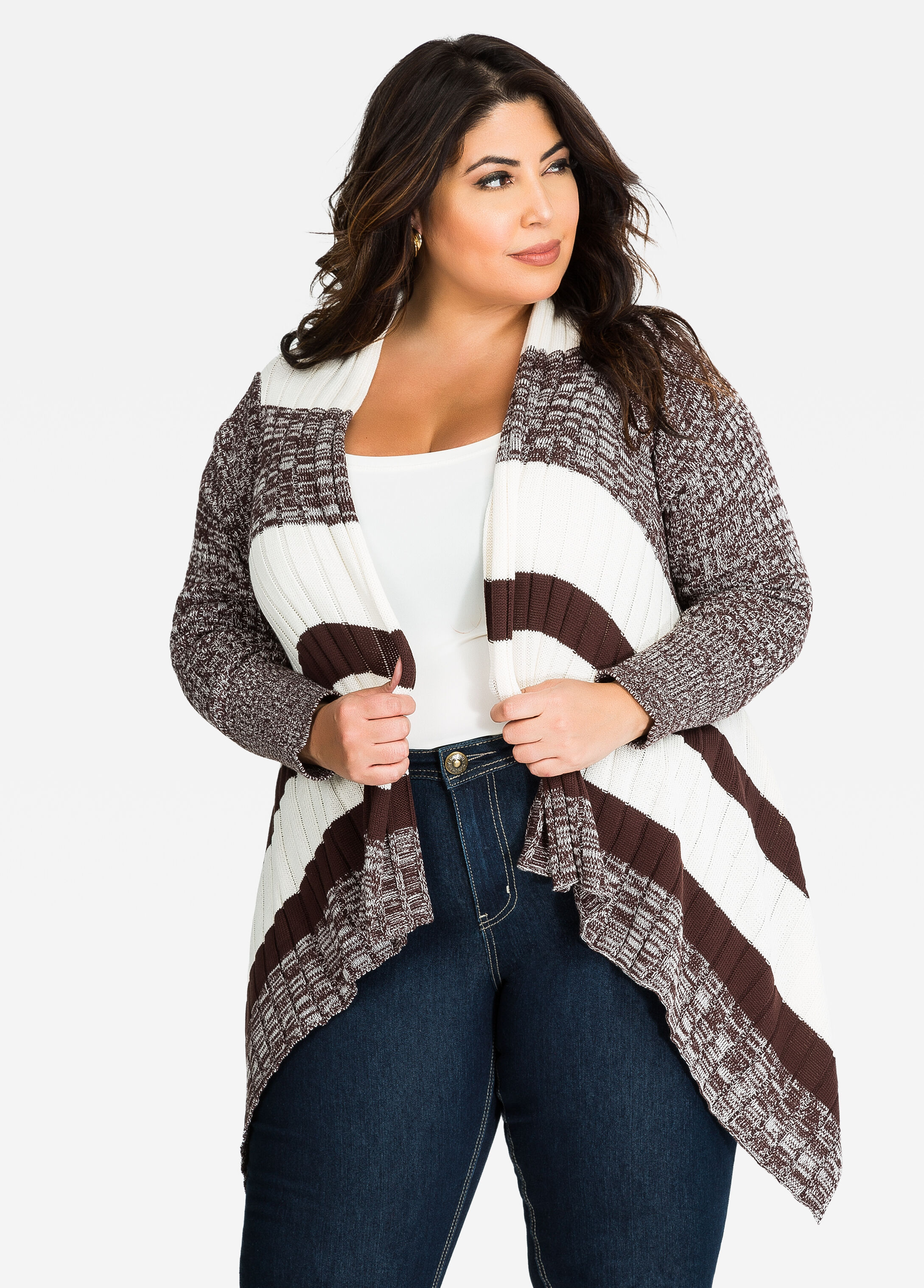 Plus Size Sweaters - Cardigans - Striped Cardigans - Sharkbite hem