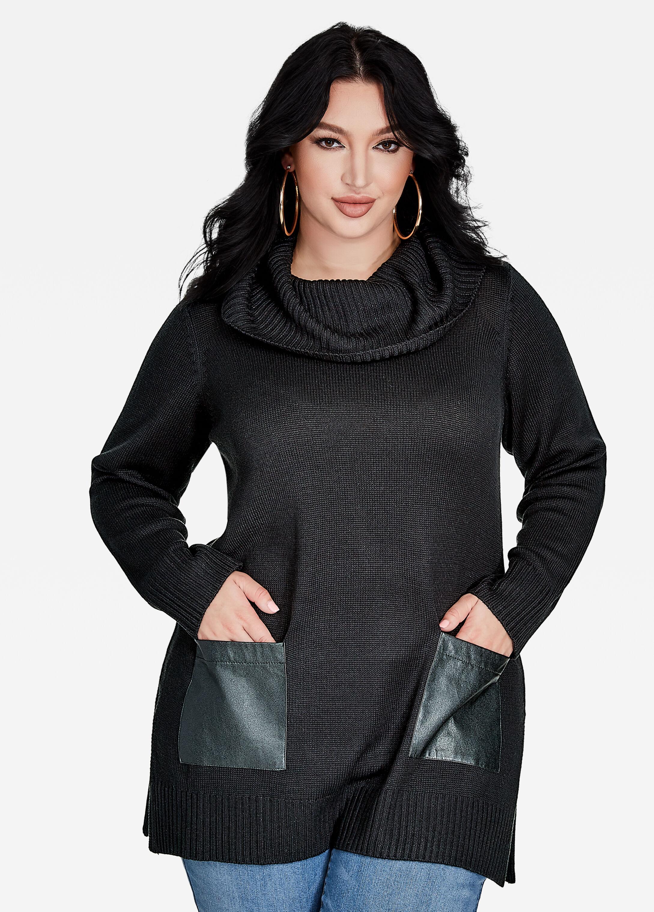 Plus size cowl neck sweater - faux leather pocket detail