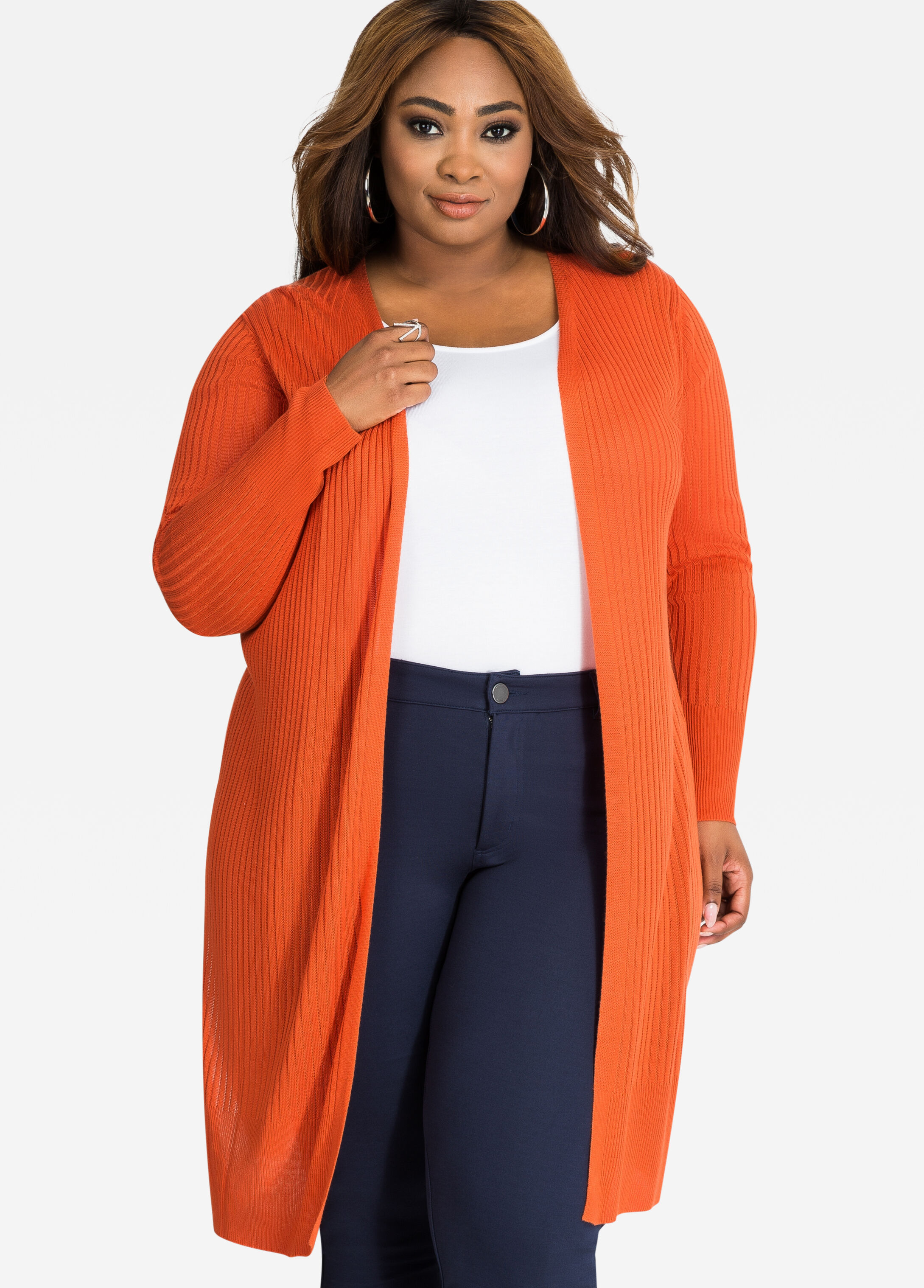 Buy Long Open Front Knit Cardigan with Side Slits Mecca Orange ...