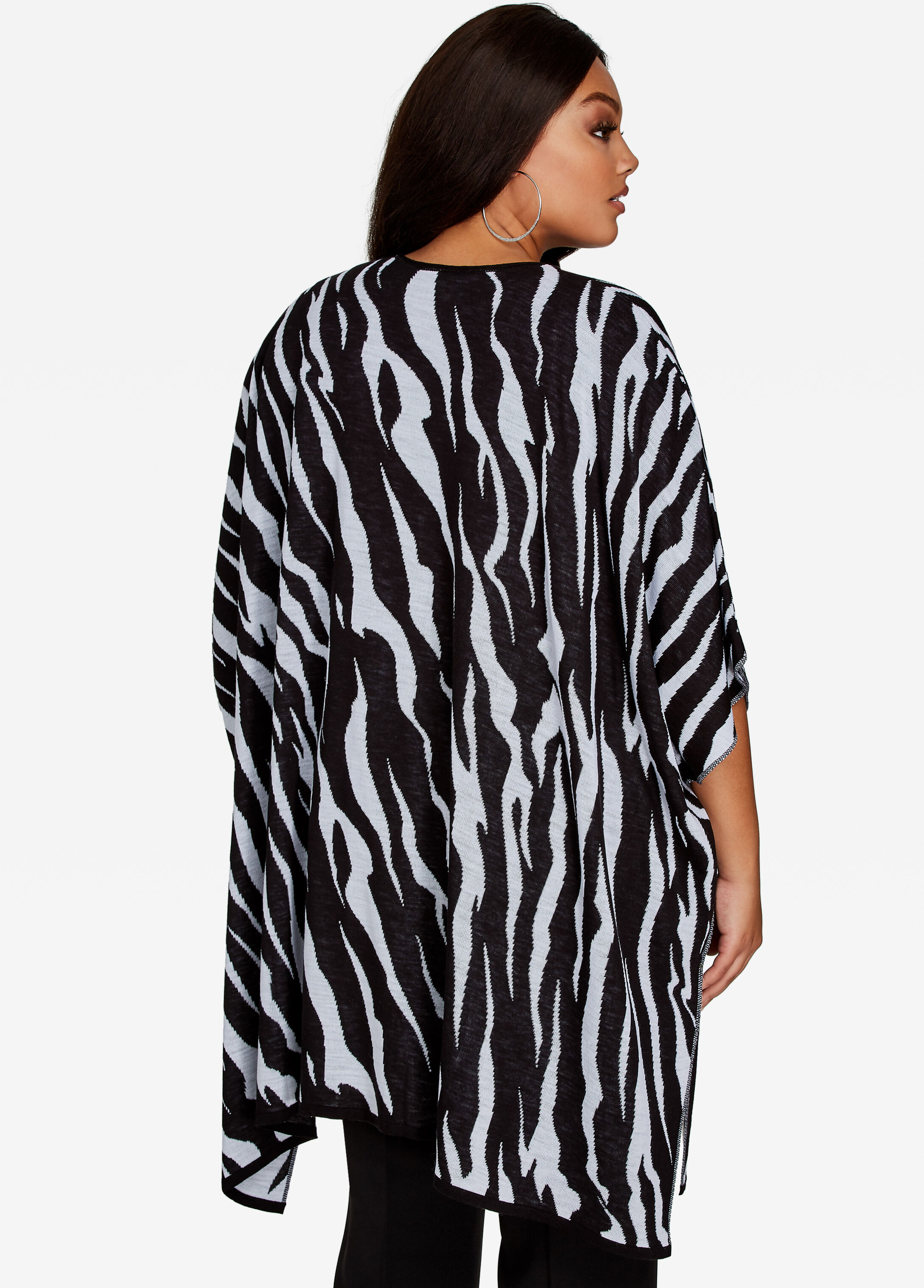 Animal Print Open Front Knit Cardigan Kimono - Plus Size Sweaters ...