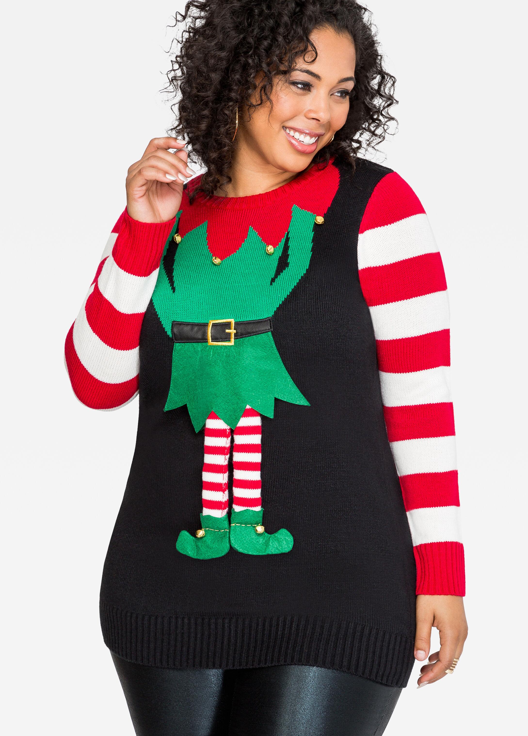 Jingle Bells Elf Holiday Sweater-Plus Size Ugly Christmas ...