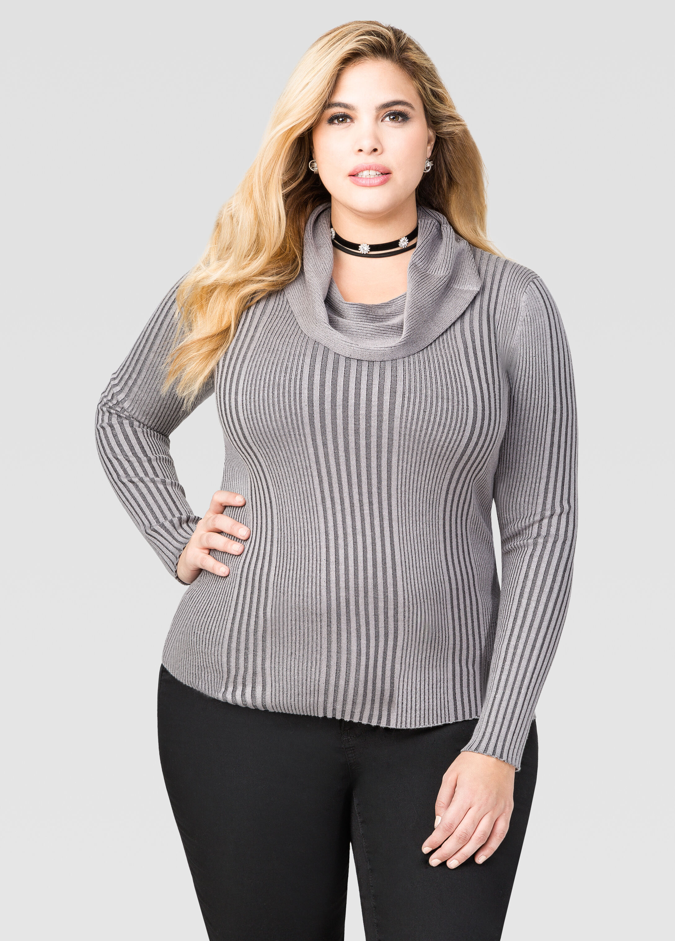 Plus Size Ribbed Cowl Neck Sweater 042-J63767WX