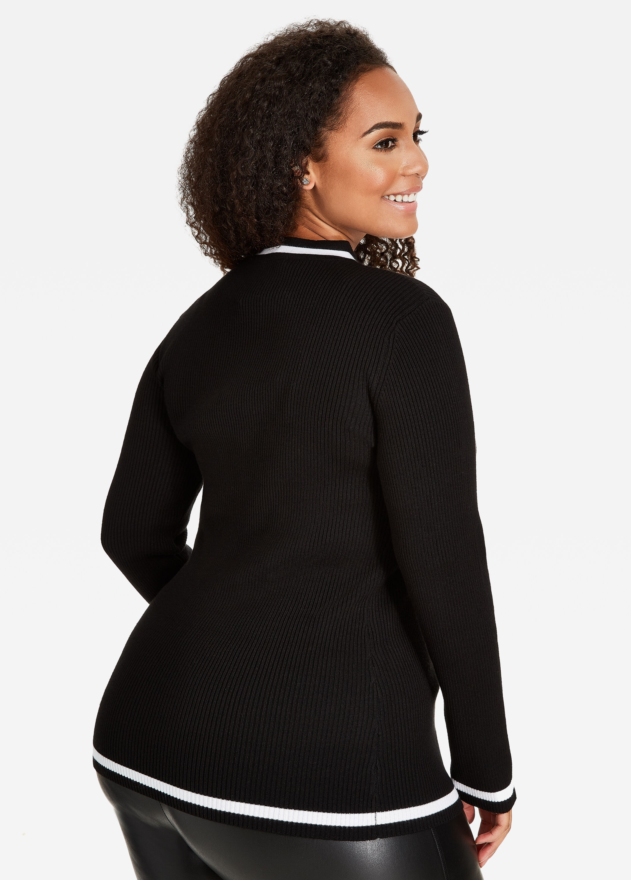 Buy GIGI Collar with Stripe Ribbed Sweater Black White - Sweaters