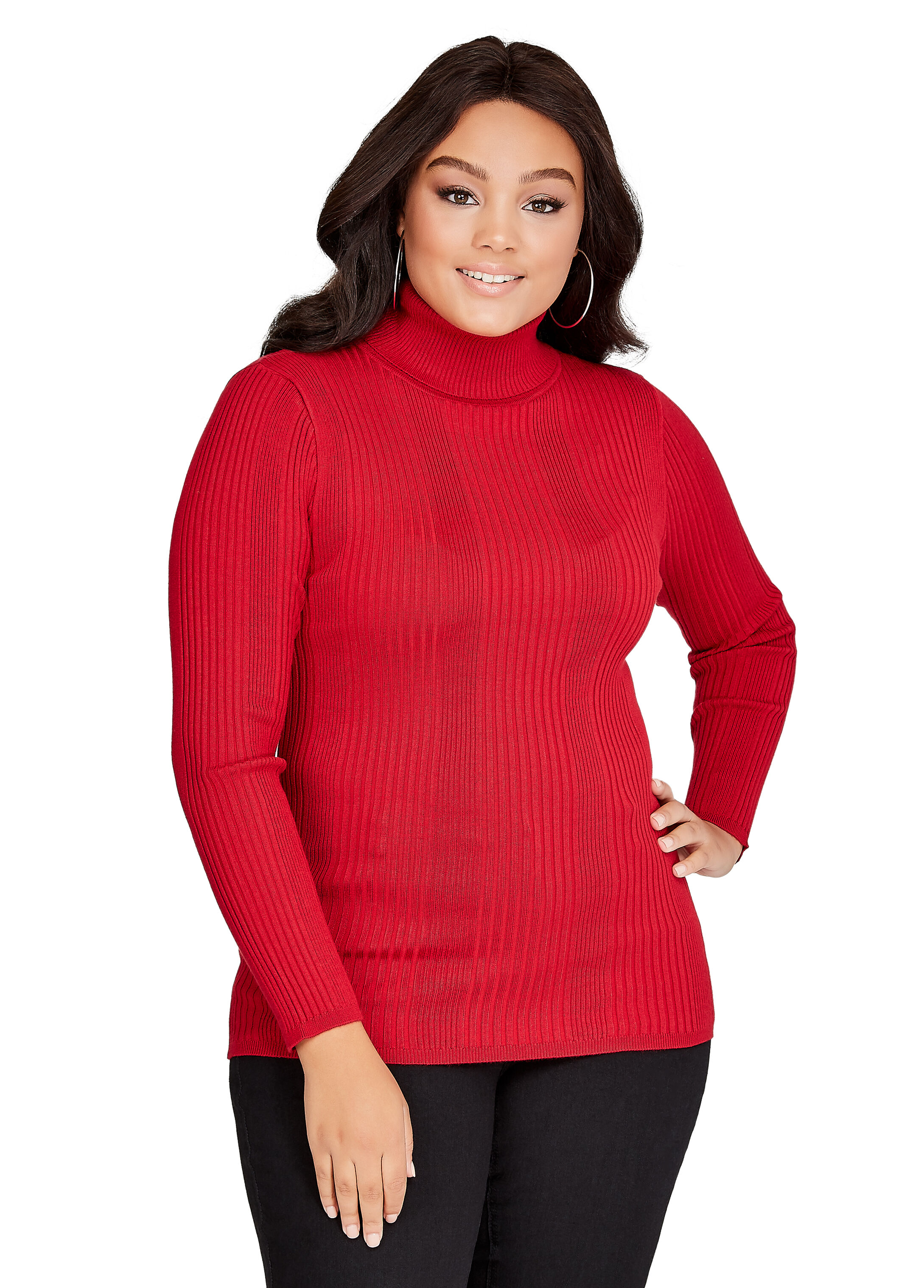 Plus Size Sweater - Basic Turtleneck