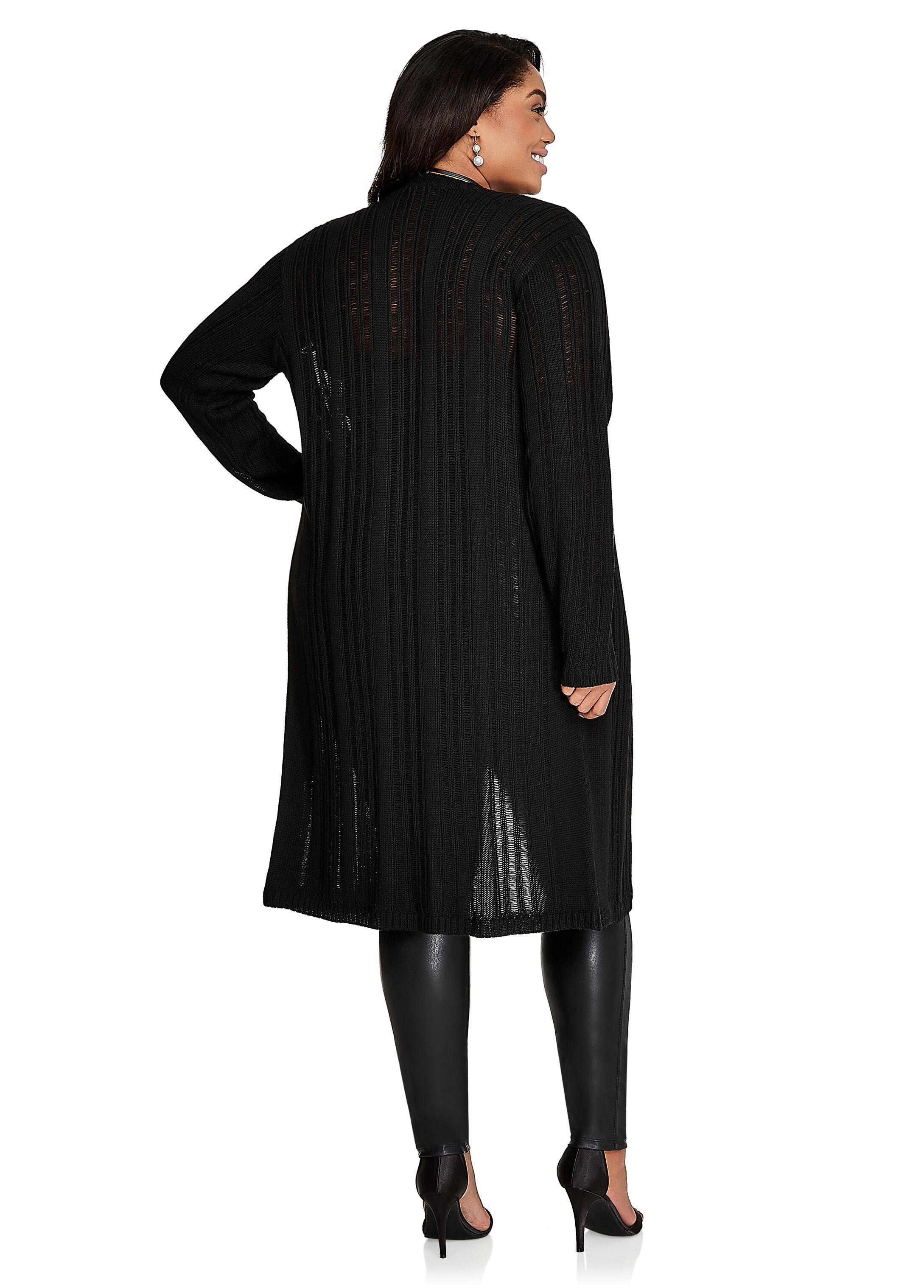Plus Size Sweaters - Long Sleeve, Drop Needle Duster