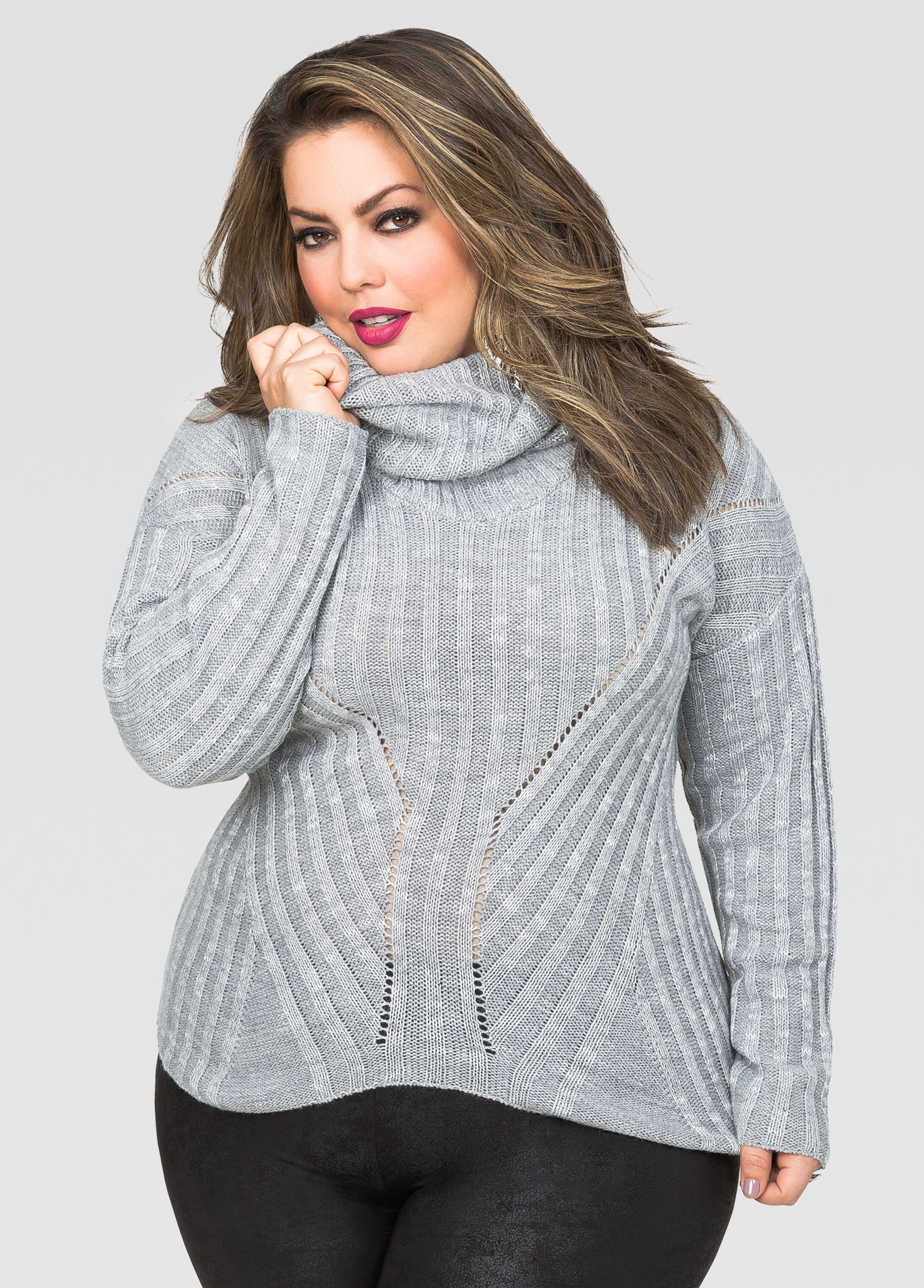 Hi-Lo Convertible Cowl Neck Sweater-Plus Size Sweaters-Ashley Stewart