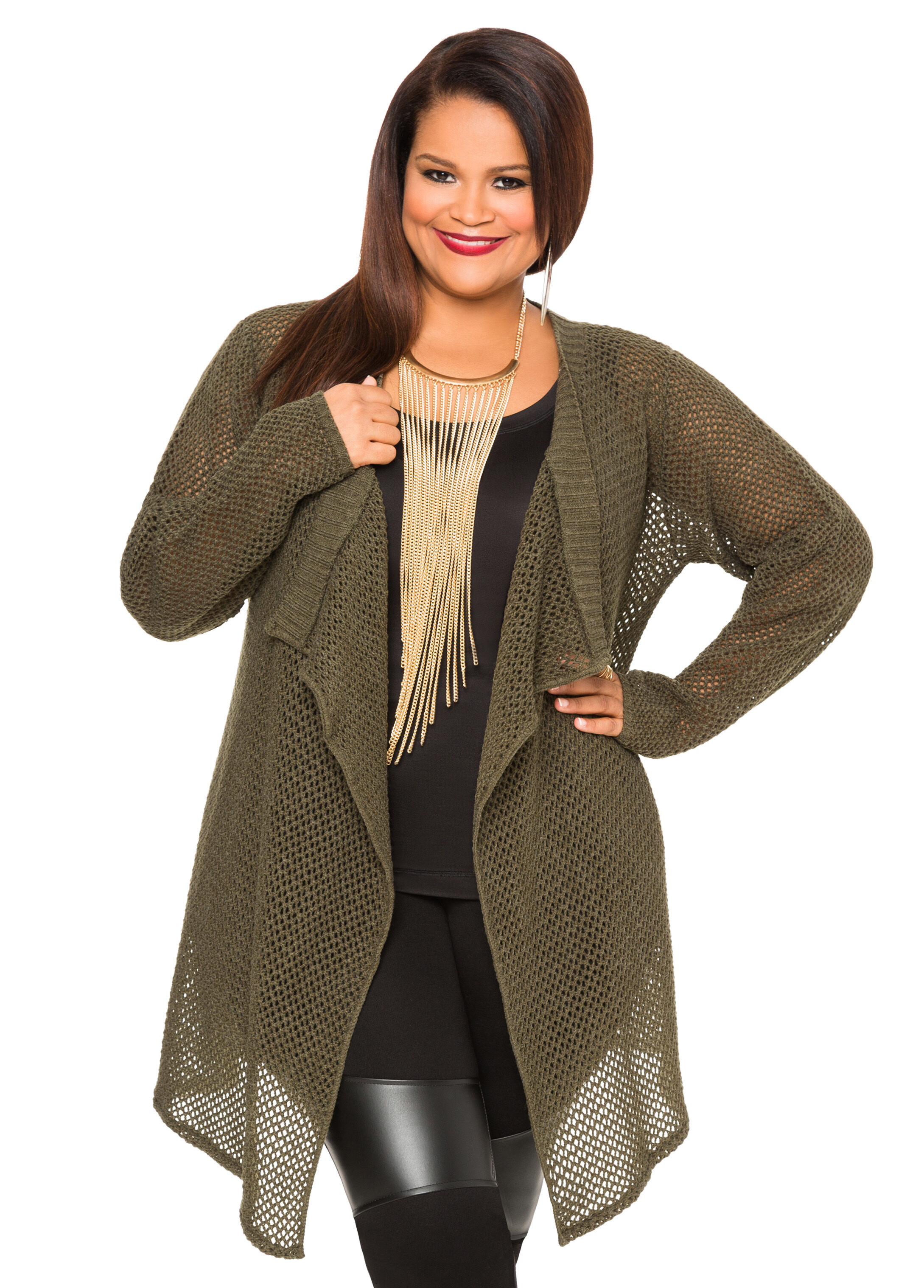 Split Back Camo Cardigan Sweater-Plus Size Sweaters-Ashley Stewart
