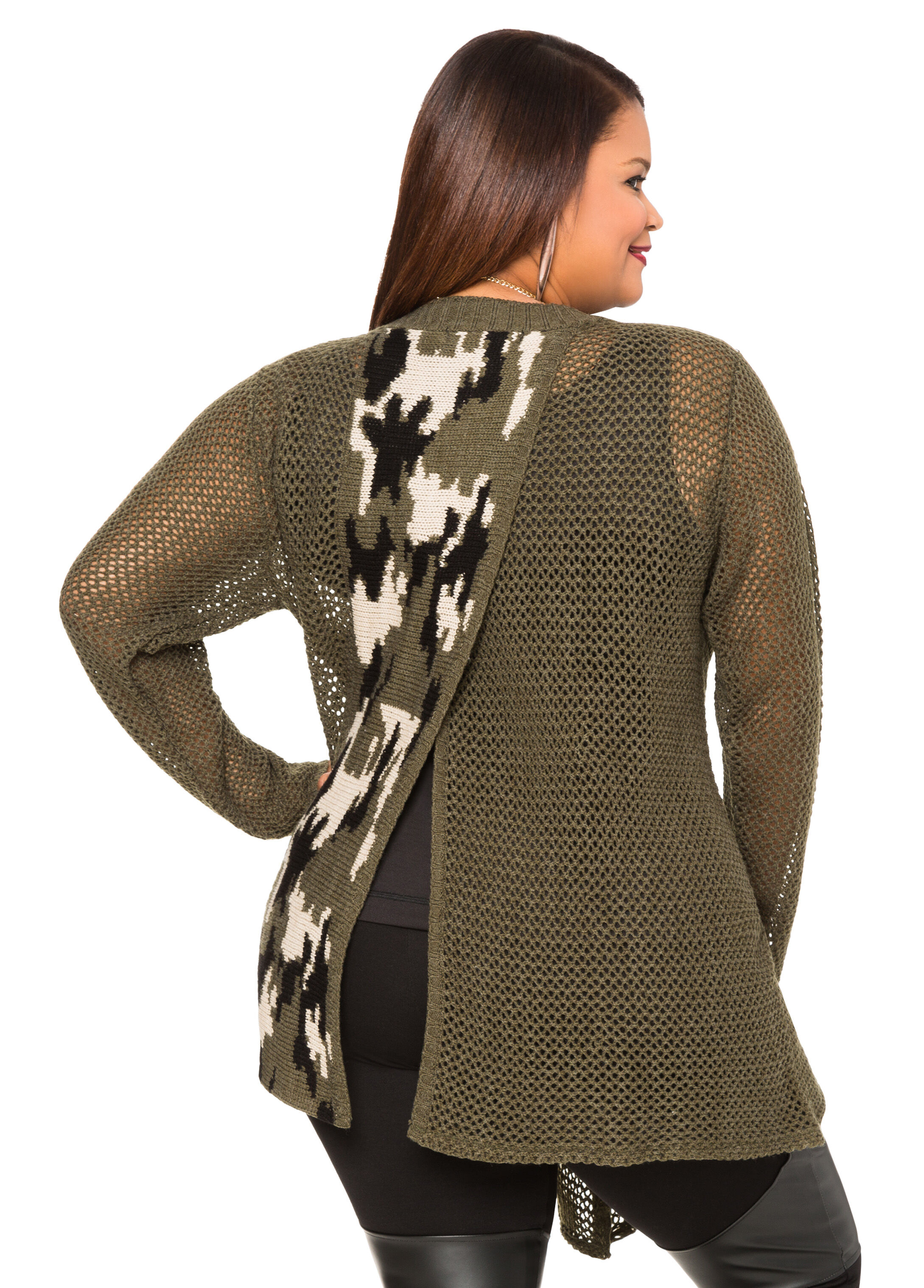 Split Back Camo Cardigan Sweater-Plus Size Sweaters-Ashley Stewart