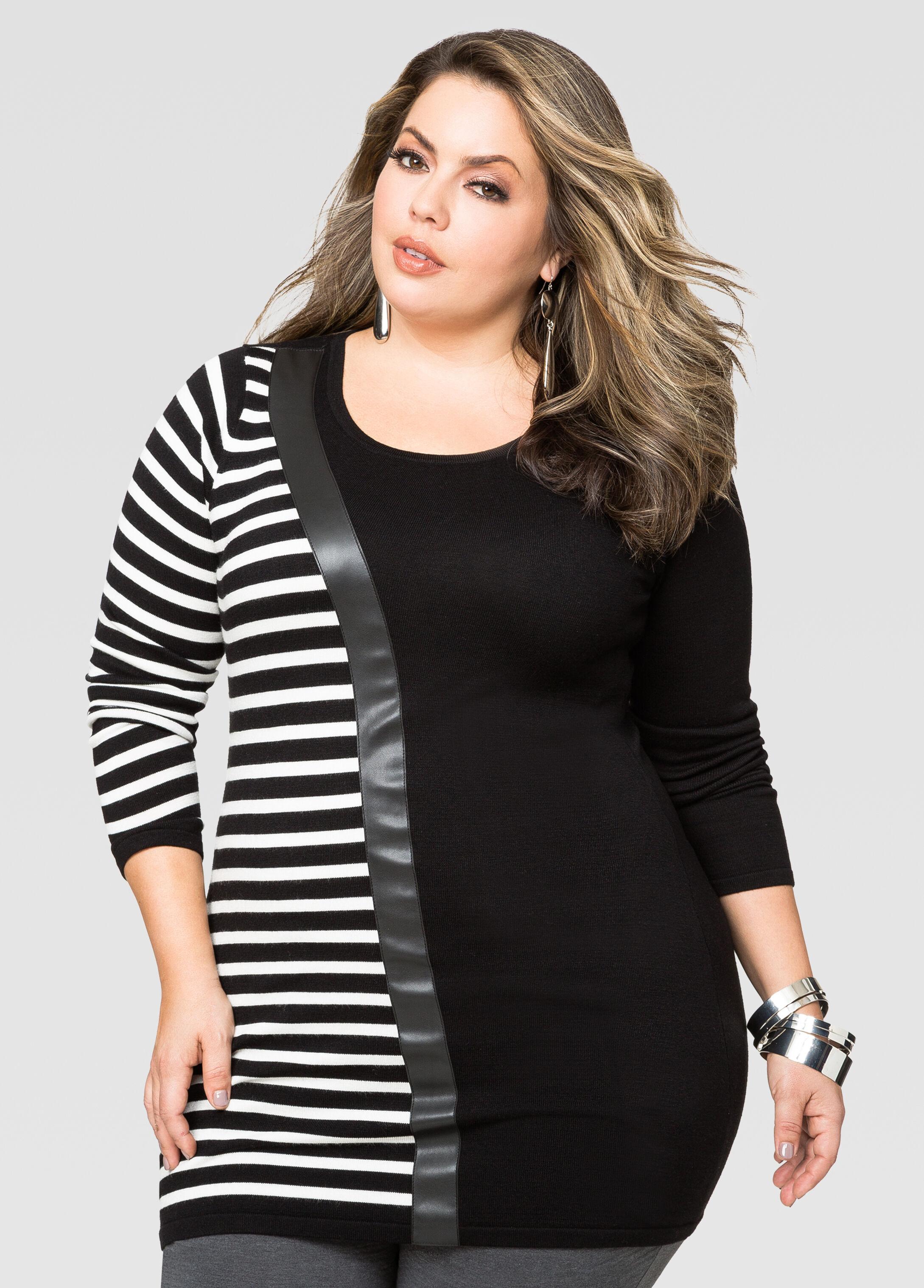 Asymmetric Stripe Tunic Sweater-Plus Size Sweaters-Ashley Stewart