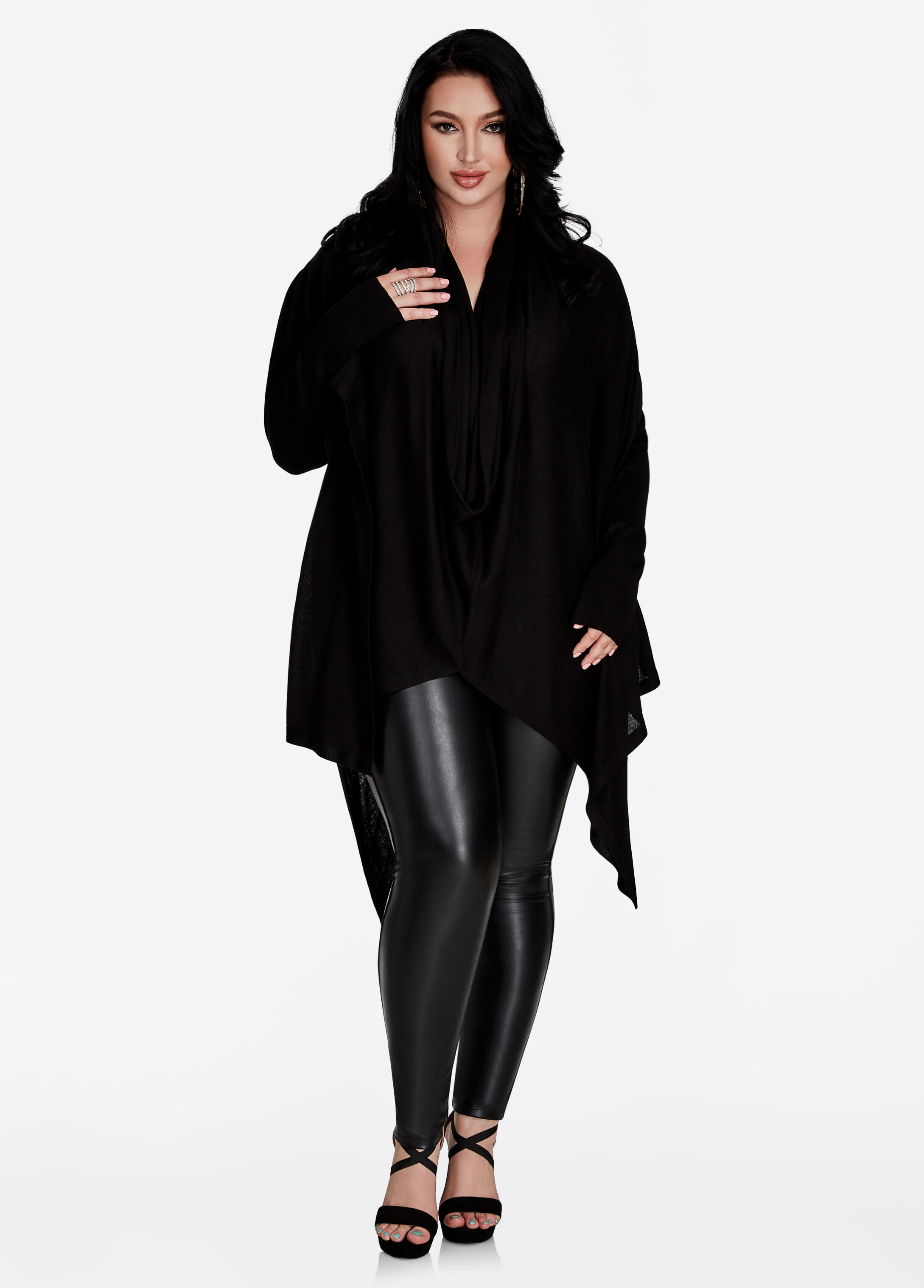 Buy Long Sleeve Cowl Neck Sweater Black - Clearance
