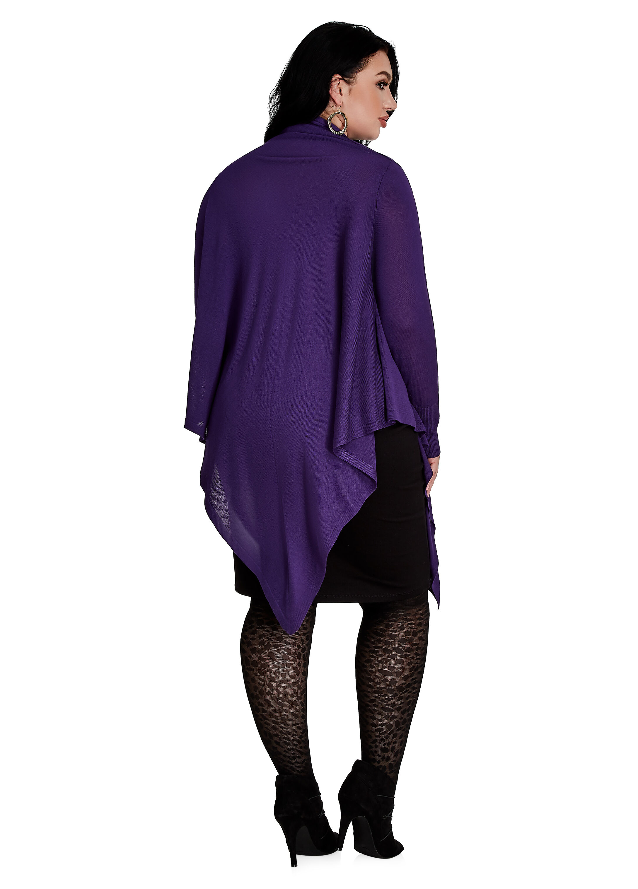Plus size cowl neck sweater - long sleeve top