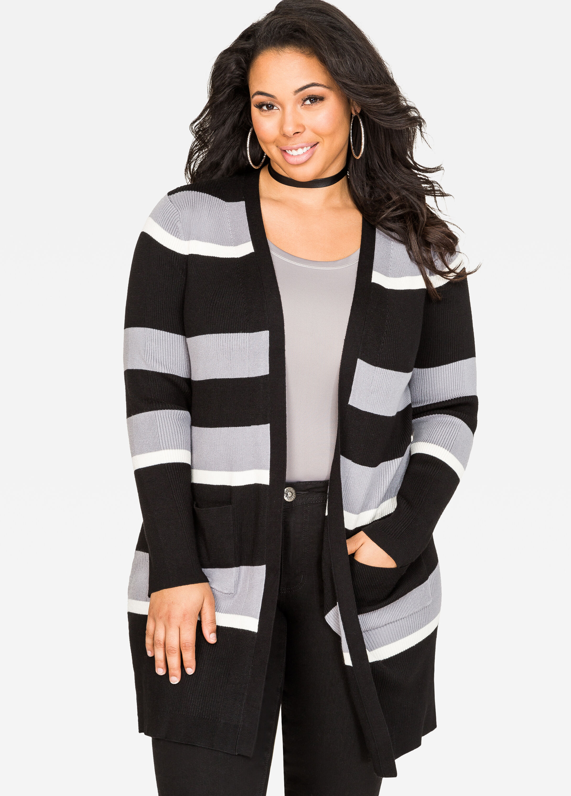Plus Size Striped Longline Cardigan Sweater-042-RB-11594