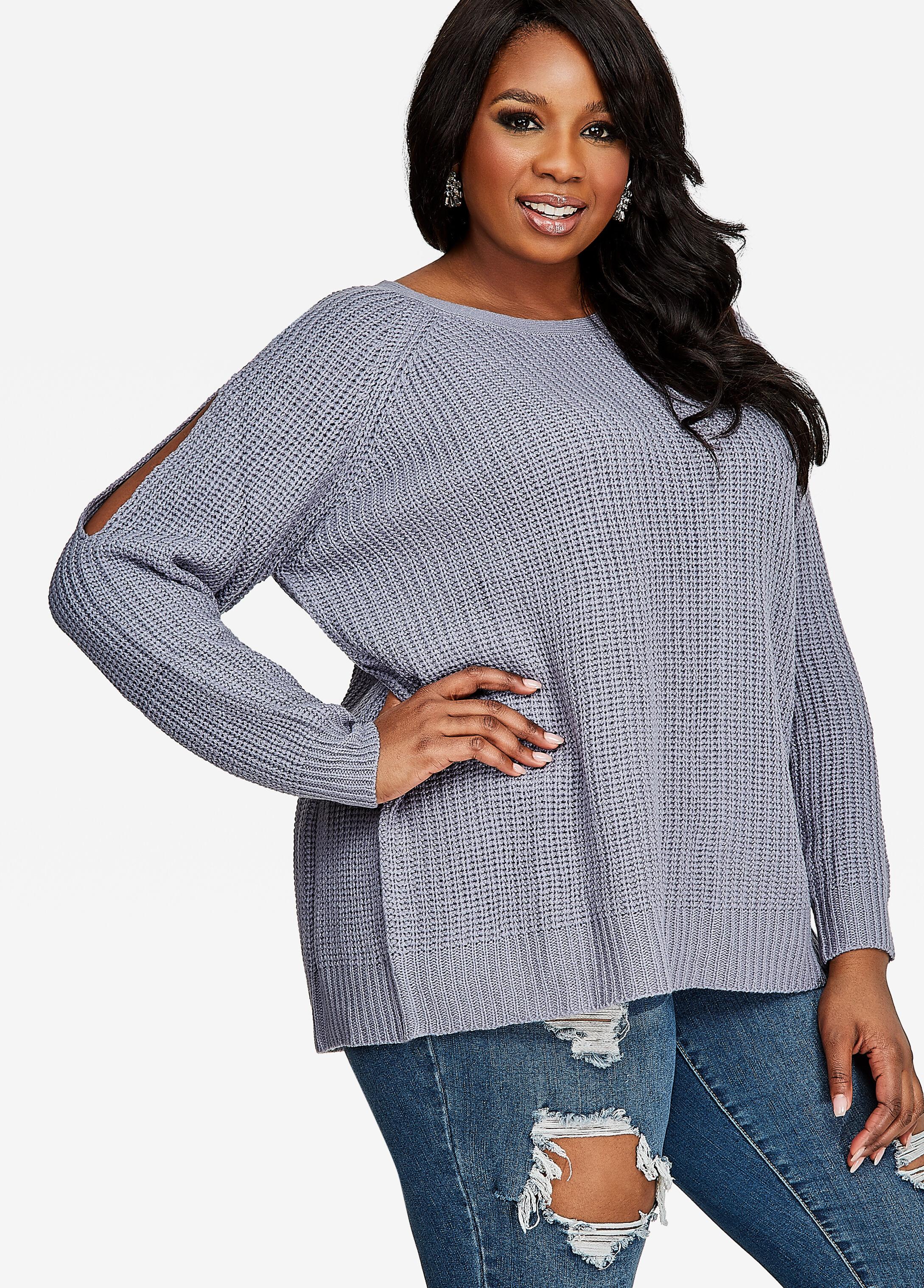 Cold Shoulder Open Back Sweater
