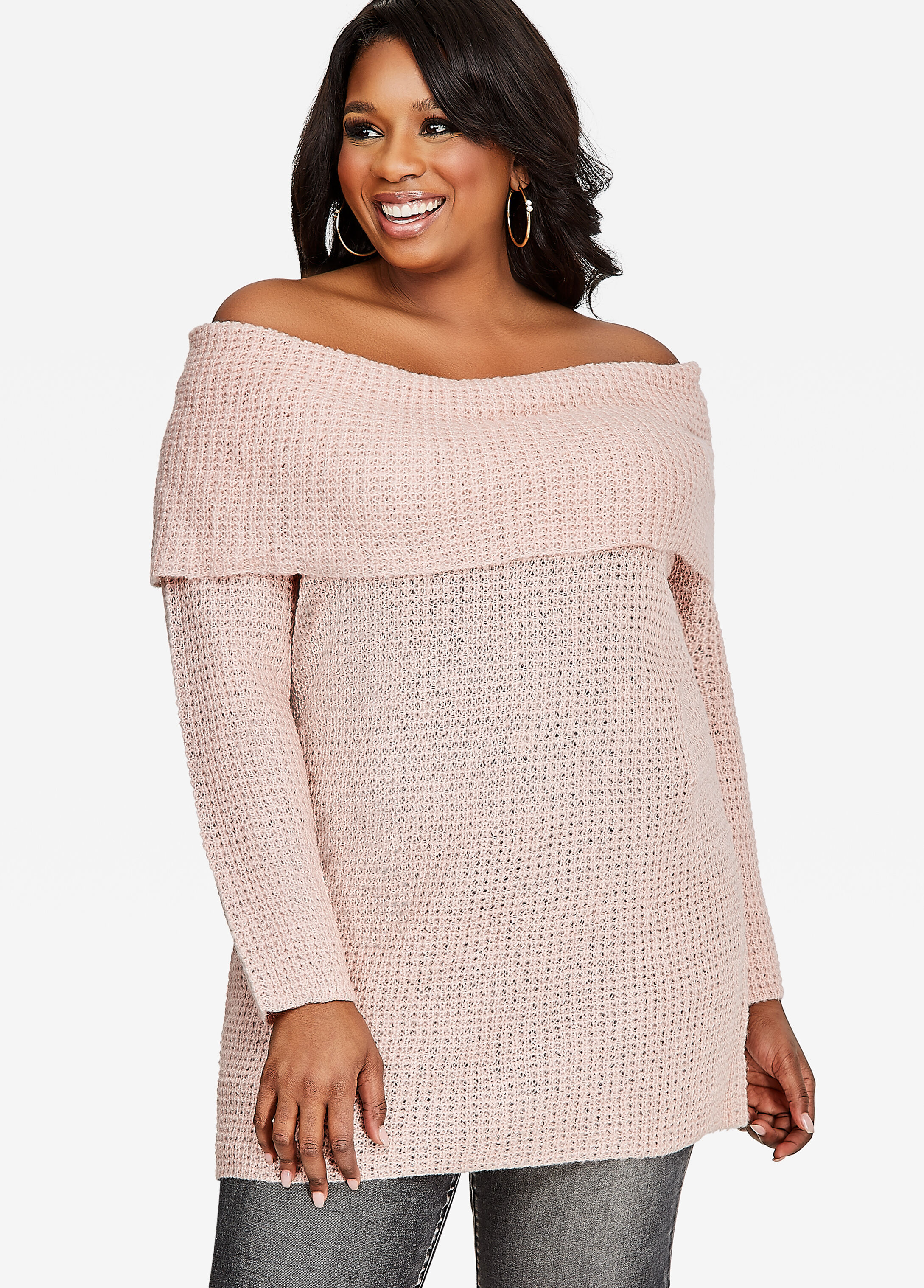 Plus Size Sweaters - Long Sleeve, Marilyn Tunic, Off-the-Shoulder ...