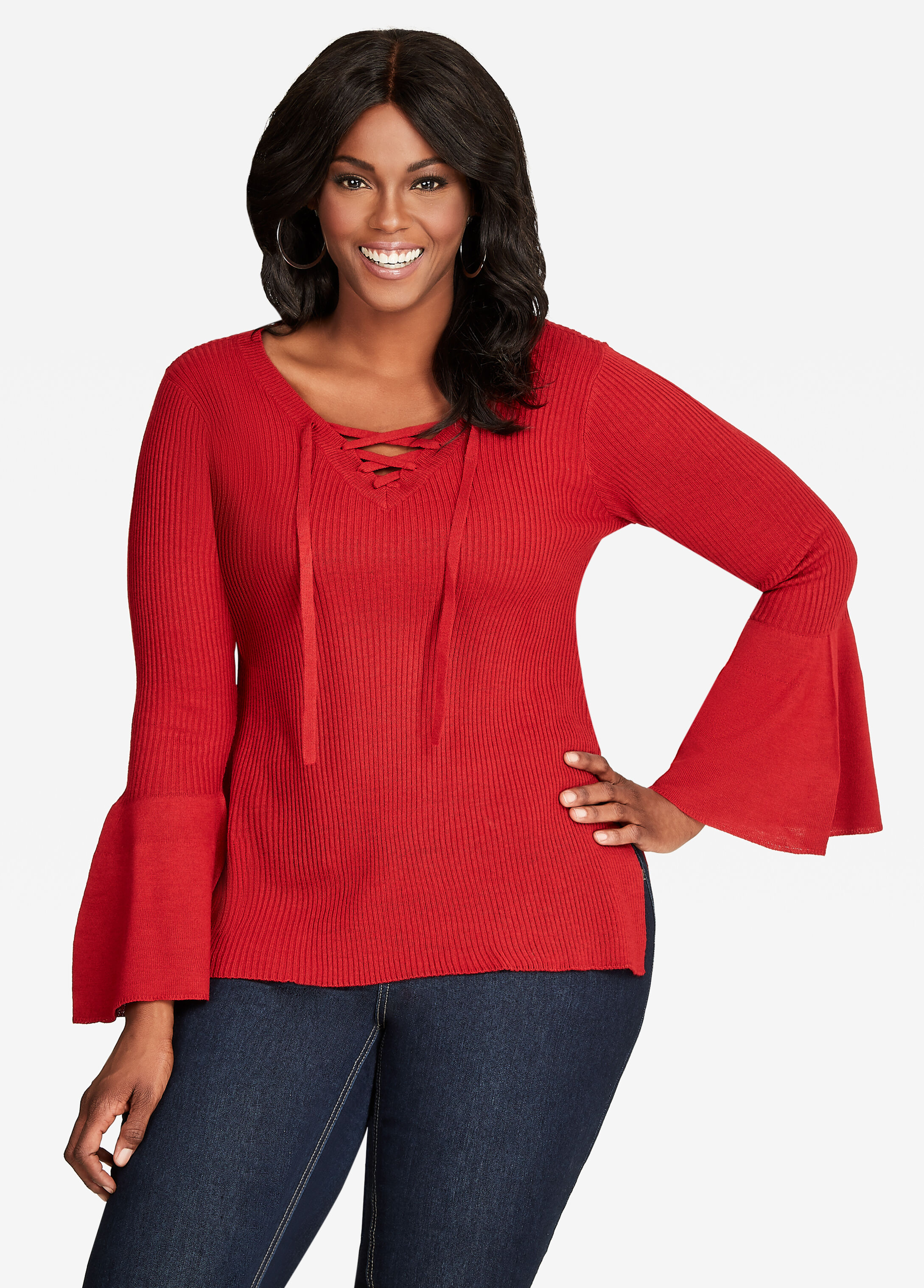 Buy V-Neck Lace-Up Ribbed Knit Sweater Red - Sweaters