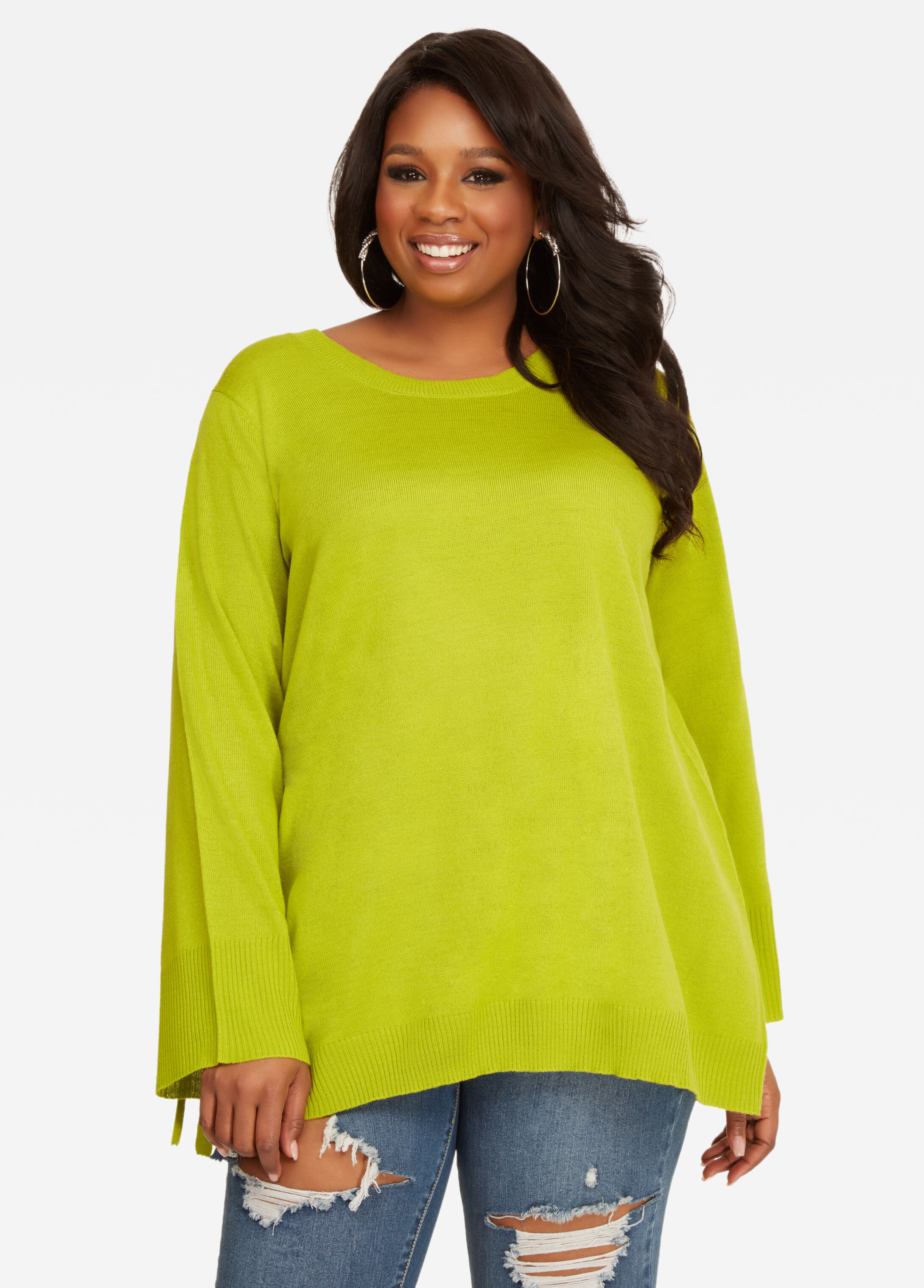 Buy Tie-Sleeve Swing Tunic Sweater Macaw Green - Sweaters