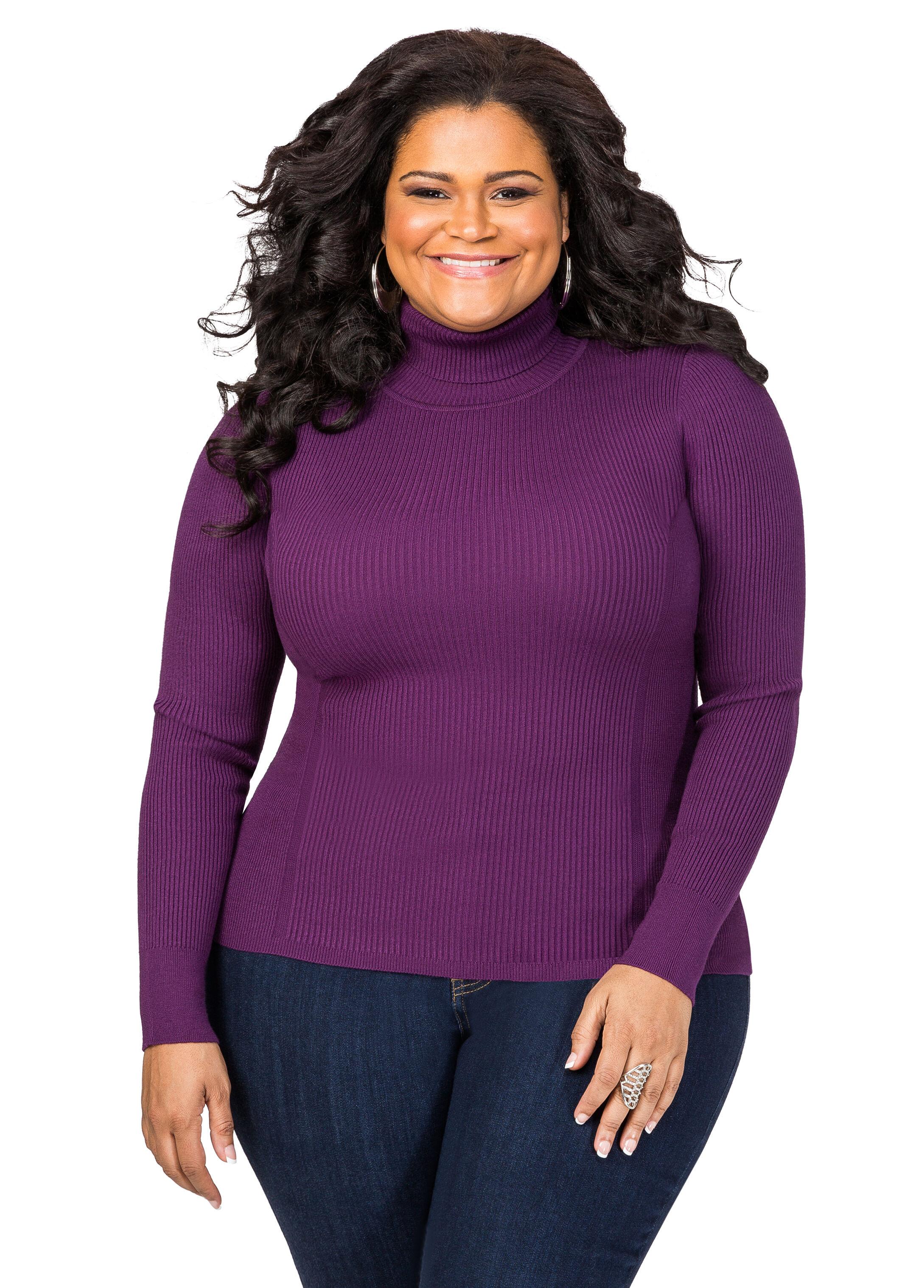 Plus Size Basic Ribbed Turtleneck Sweater 042-STU-12131XF2