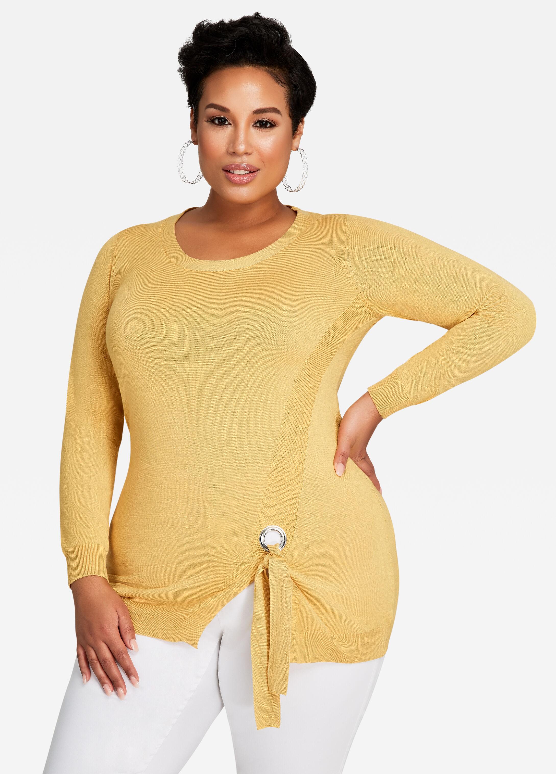 Side Grommet Tie Knit Sweater Top