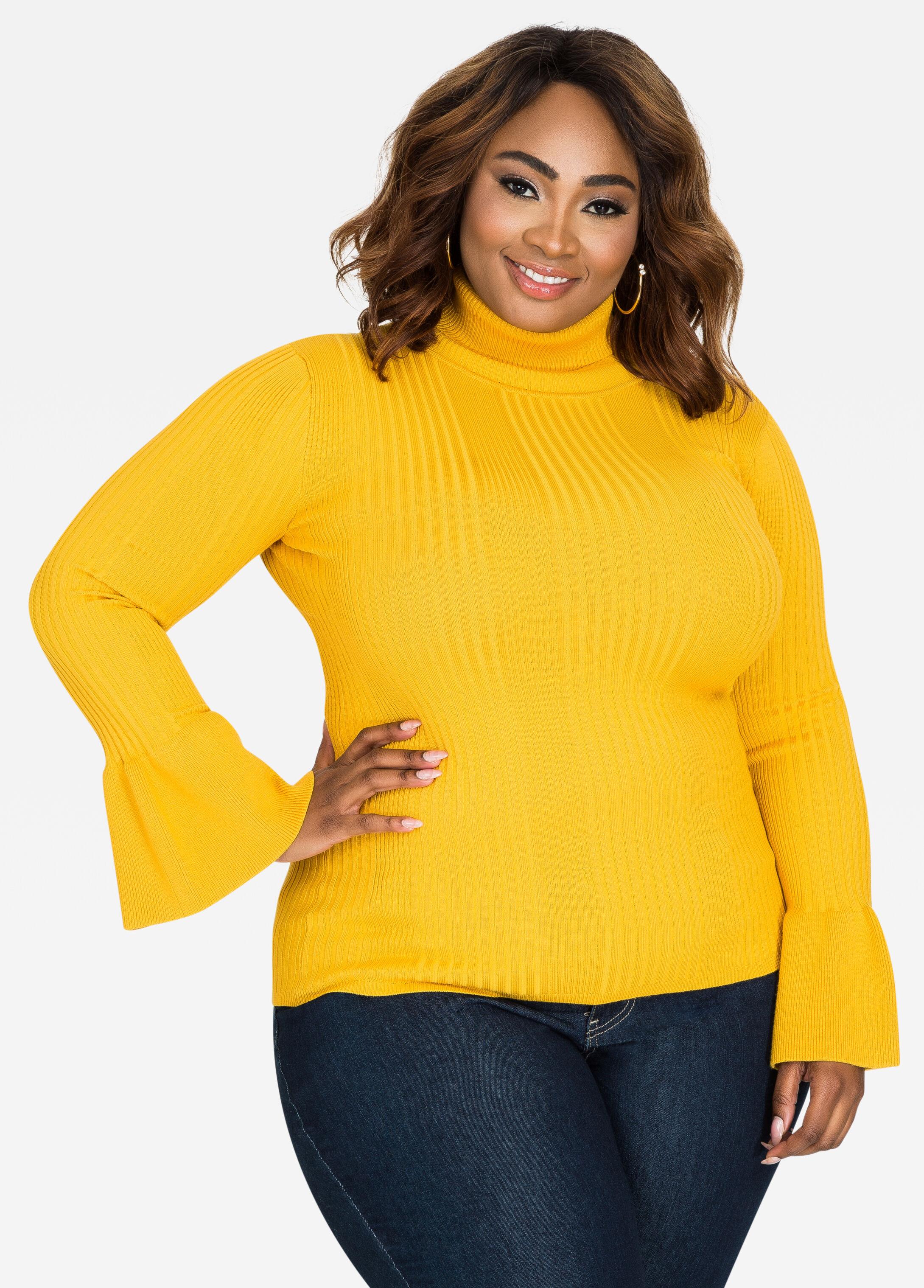 Plus Size Sweaters - Turtleneck sweater