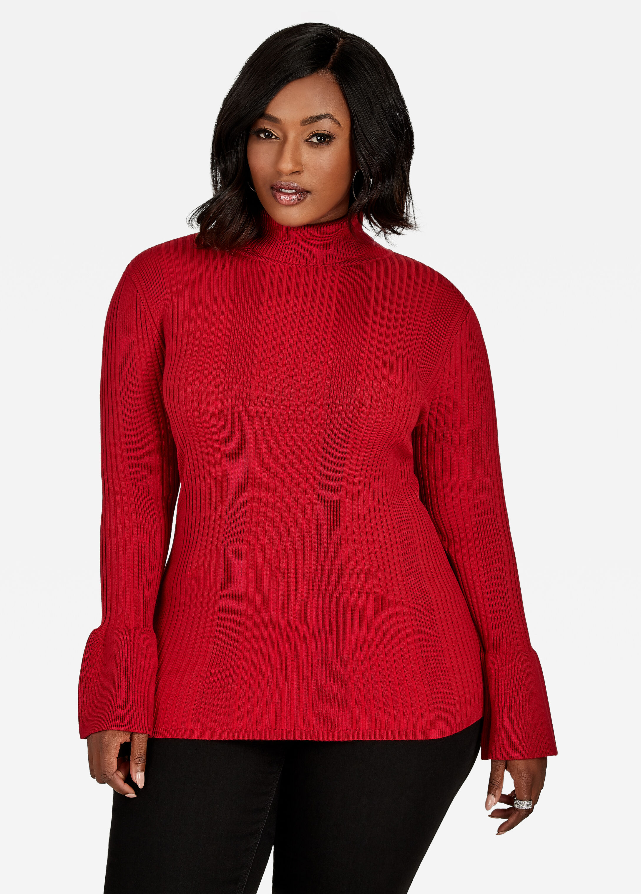 Buy Bell Sleeve Turtleneck Scooter Red - Sweaters