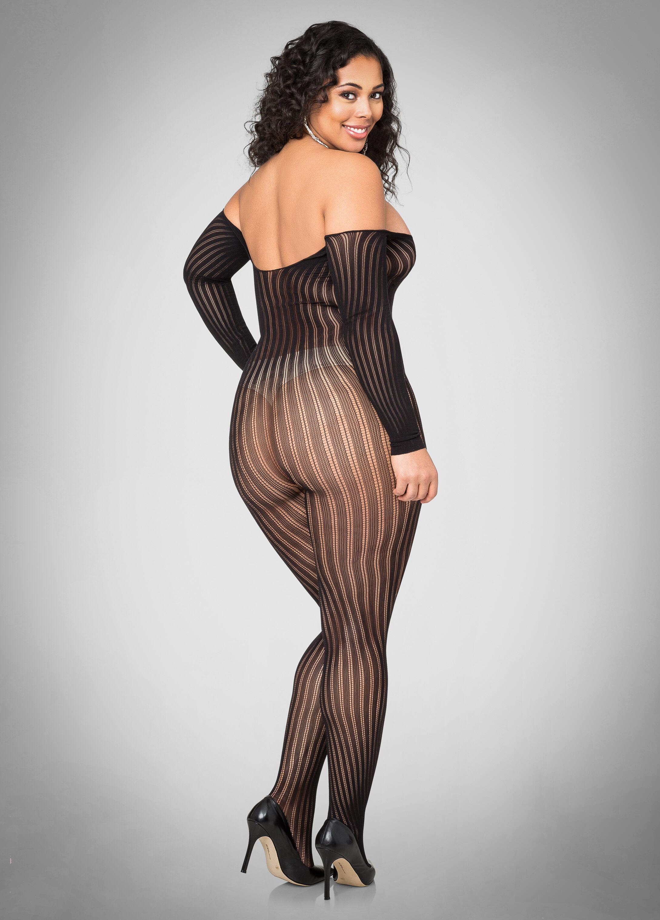 Sheer Off Shoulder Lingerie Bodysuit-Plus Size Lingerie ...