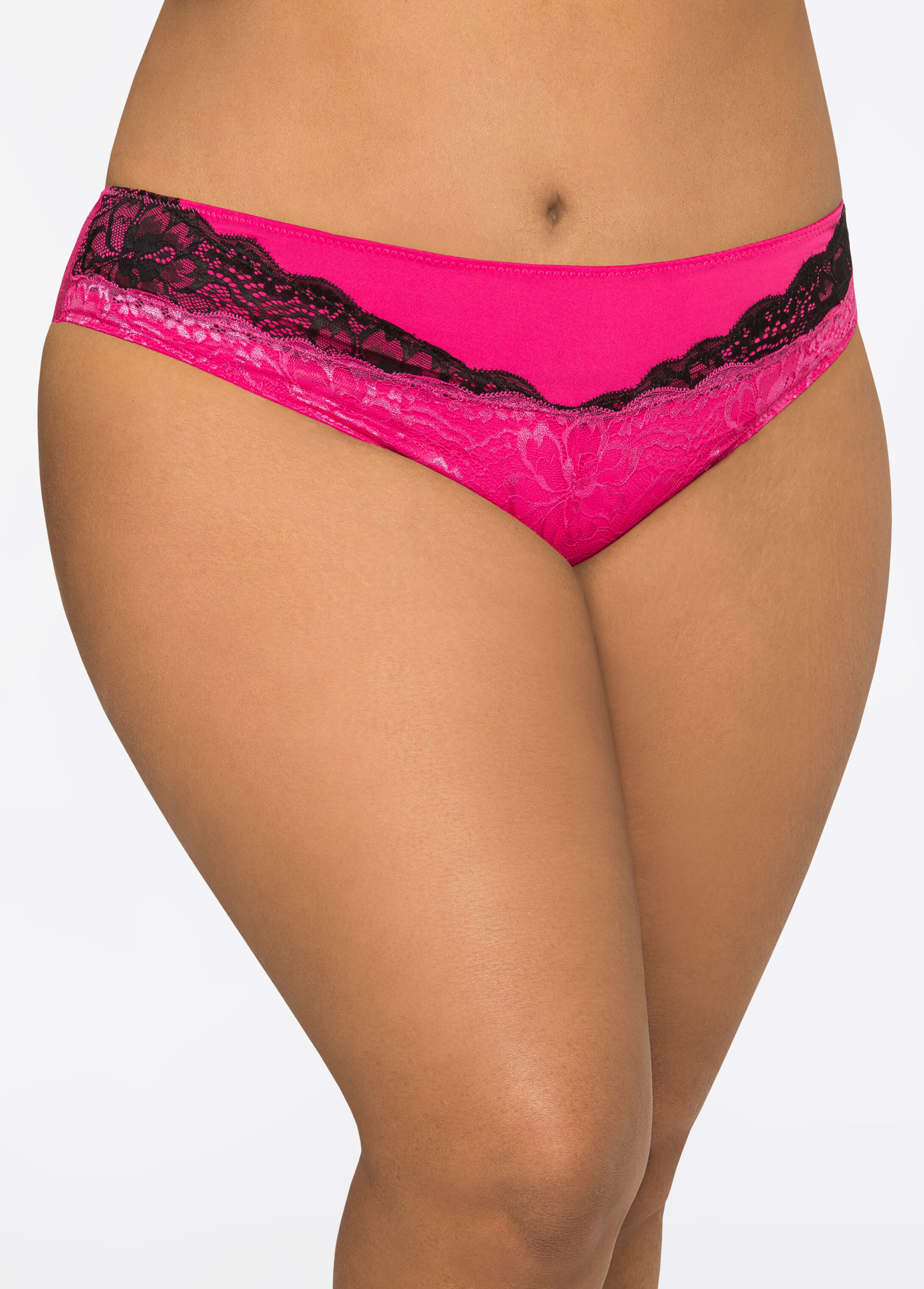 Contrast Lace Bikini Panty Beetroot Purple - Clearance
