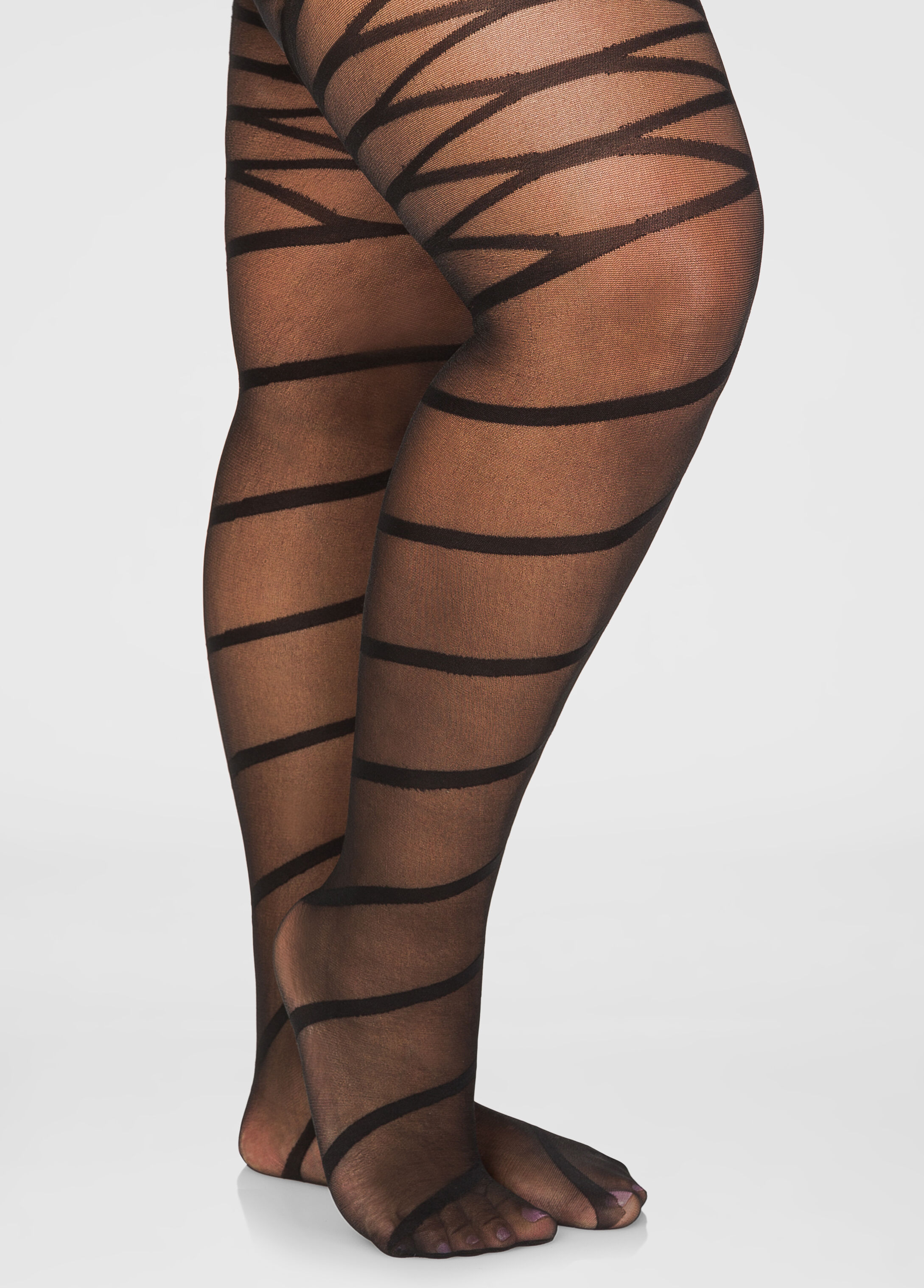 Spiral and Lace Up Sheer Footed Tights