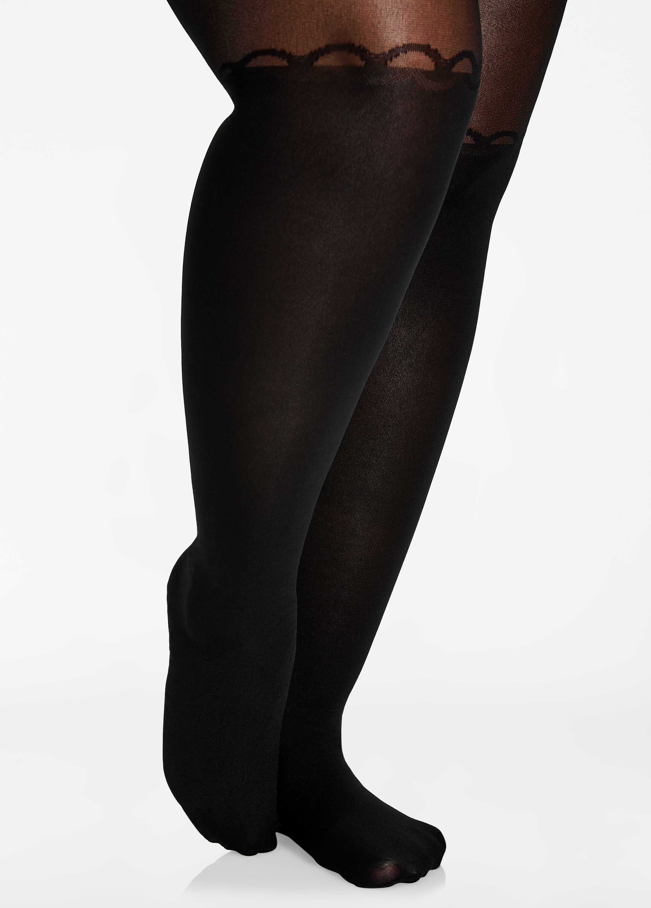 Garter Open Front Nylon Tights
