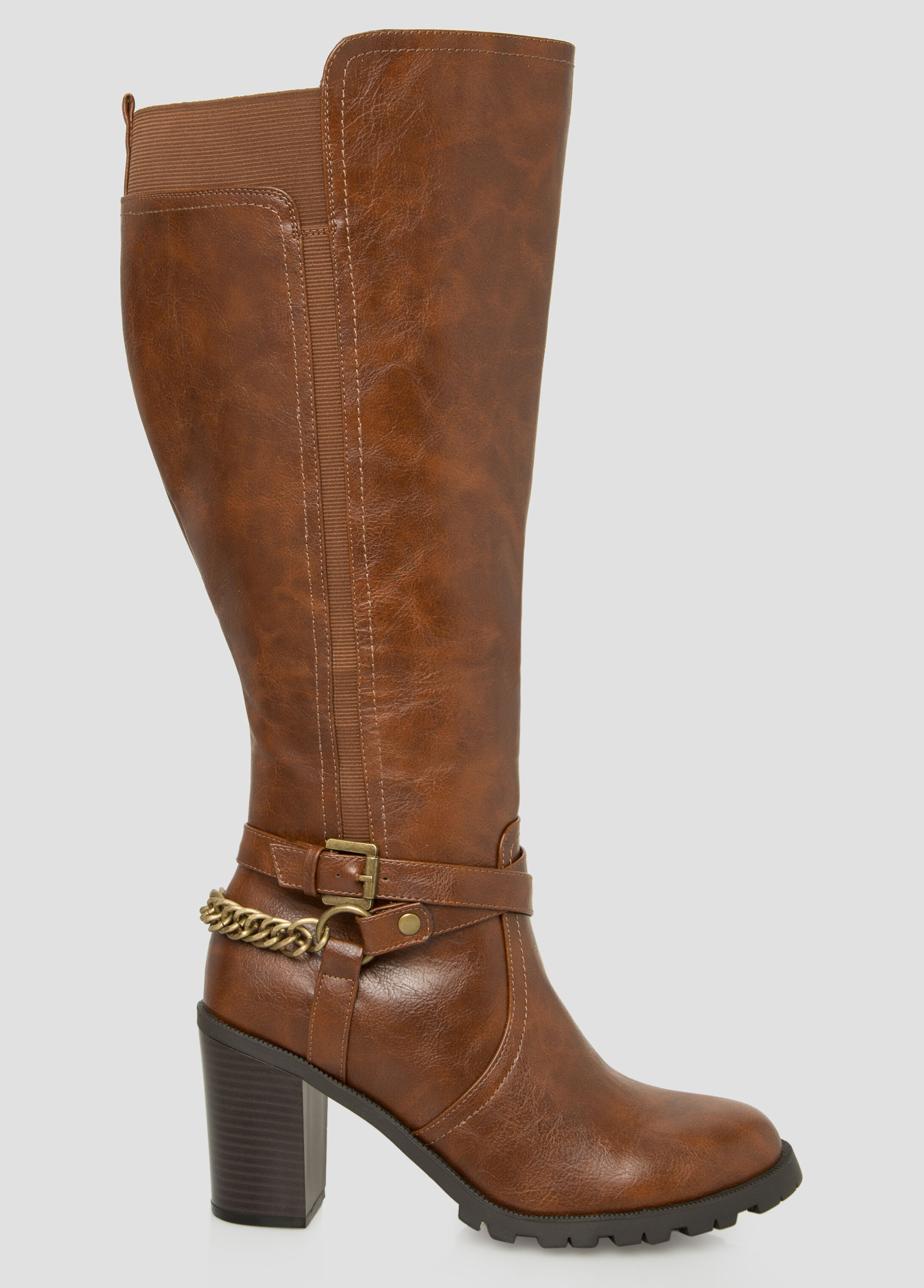 Plus Size Chain Knee High Boot - Wide Calf Wide Width 068 ...