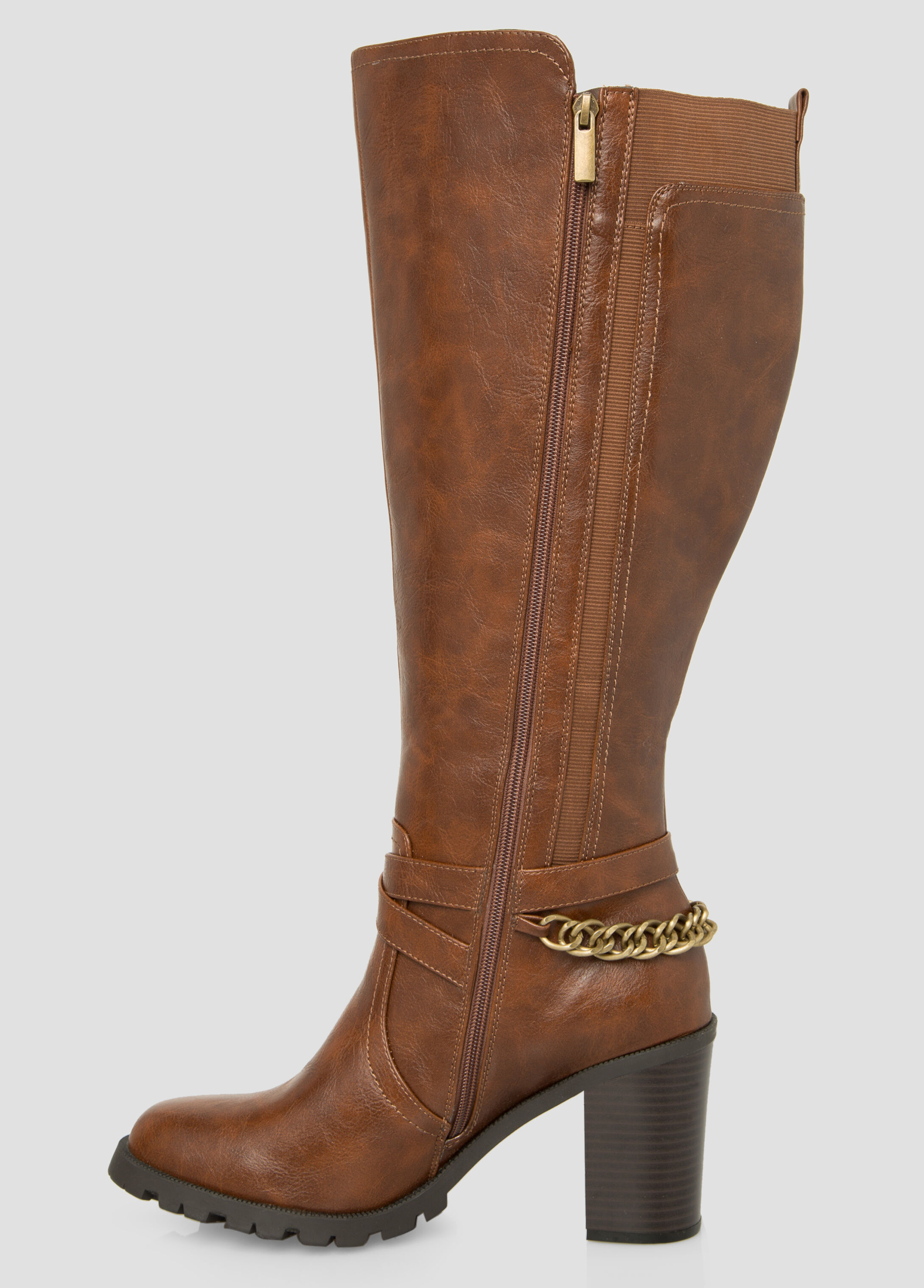 plus size chain knee high boot wide calf wide width 068