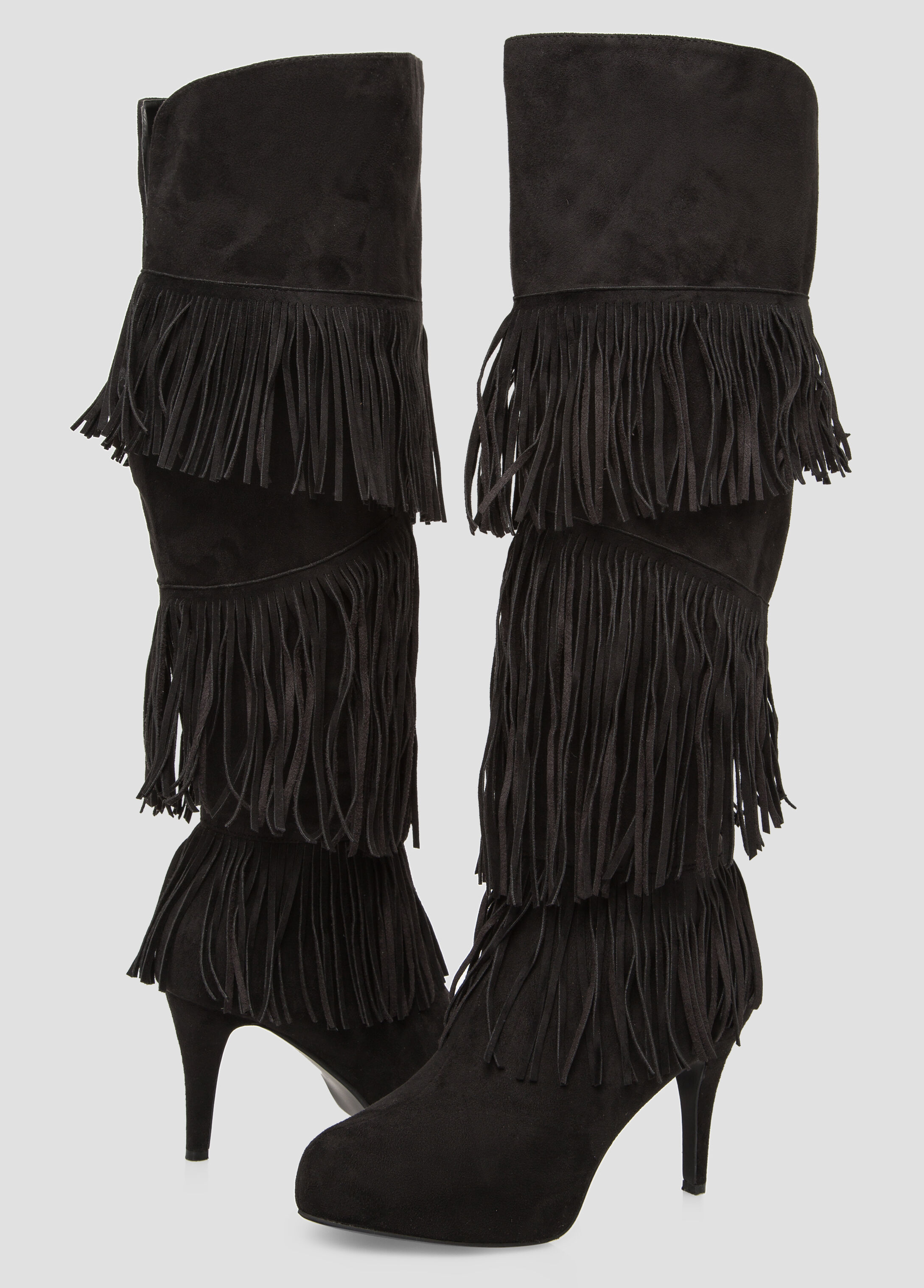 Plus Size Fringe Knee High Boot Wide Calf Wide Width