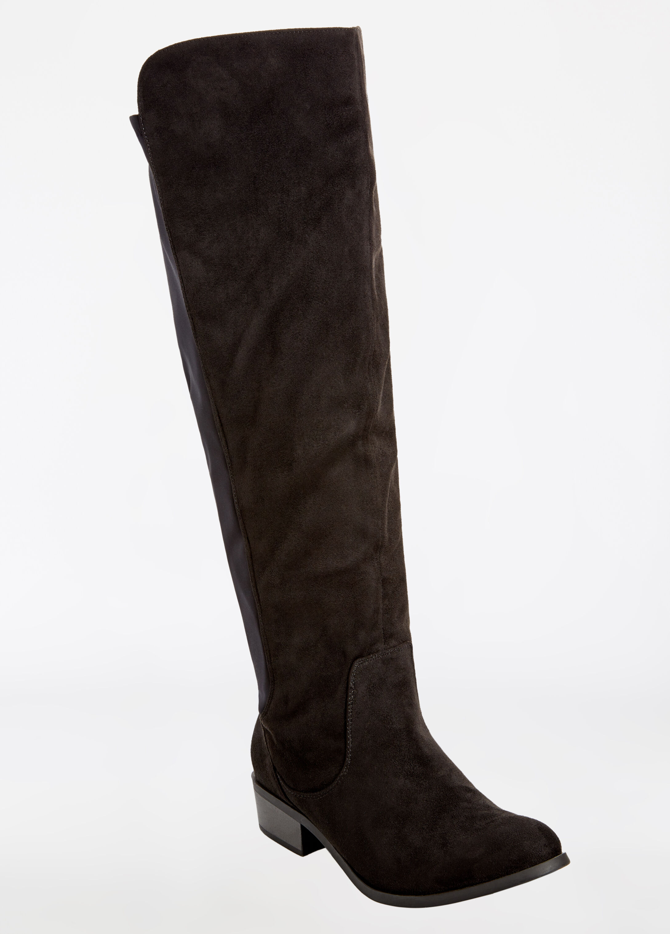 buy suede stretch calf boot wide width black wide