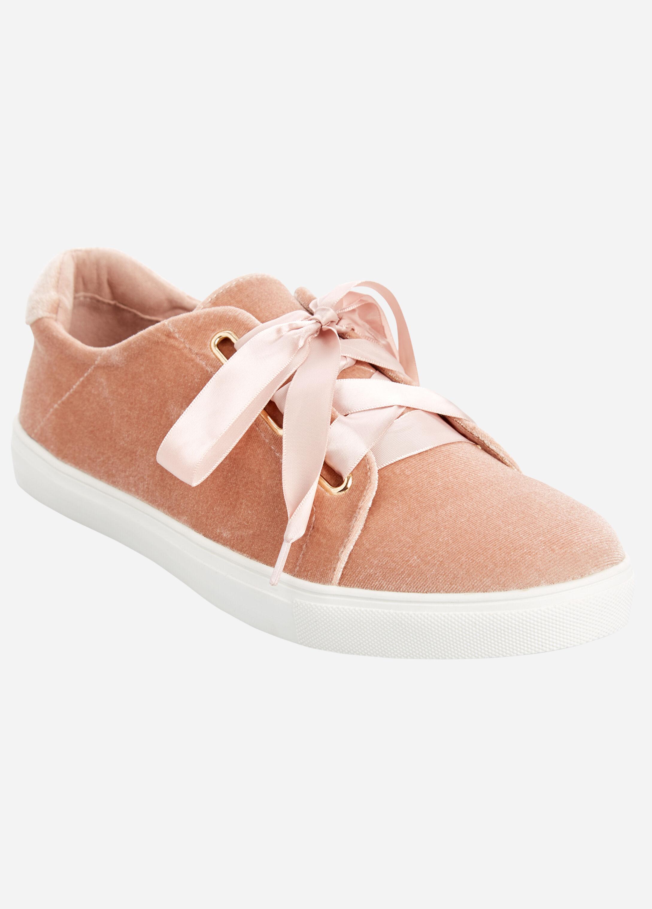 Wide Lace Velvet Sneakers - Wide Width