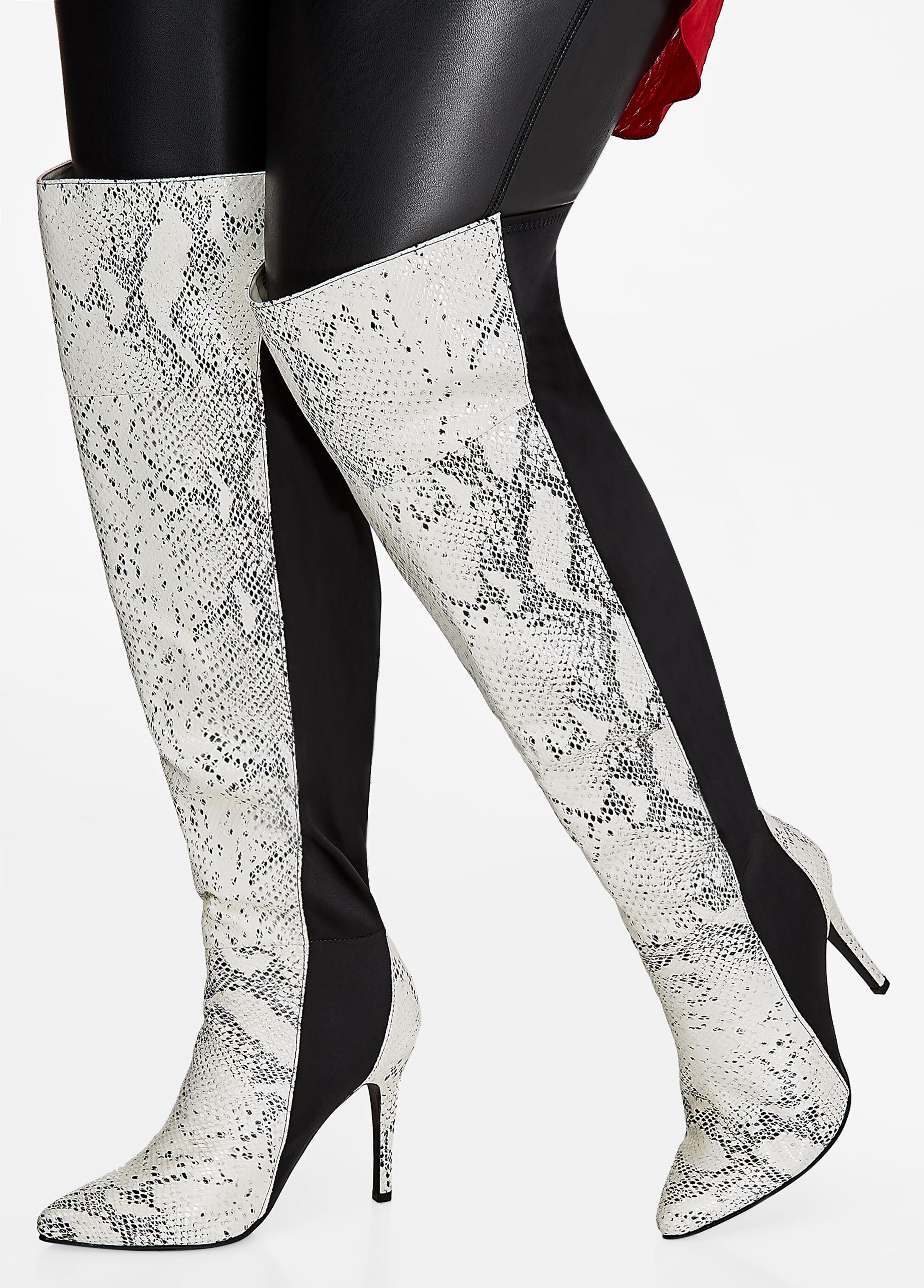 Tall Mixed Snakeskin Boots - Wide-Width, Wide Calf