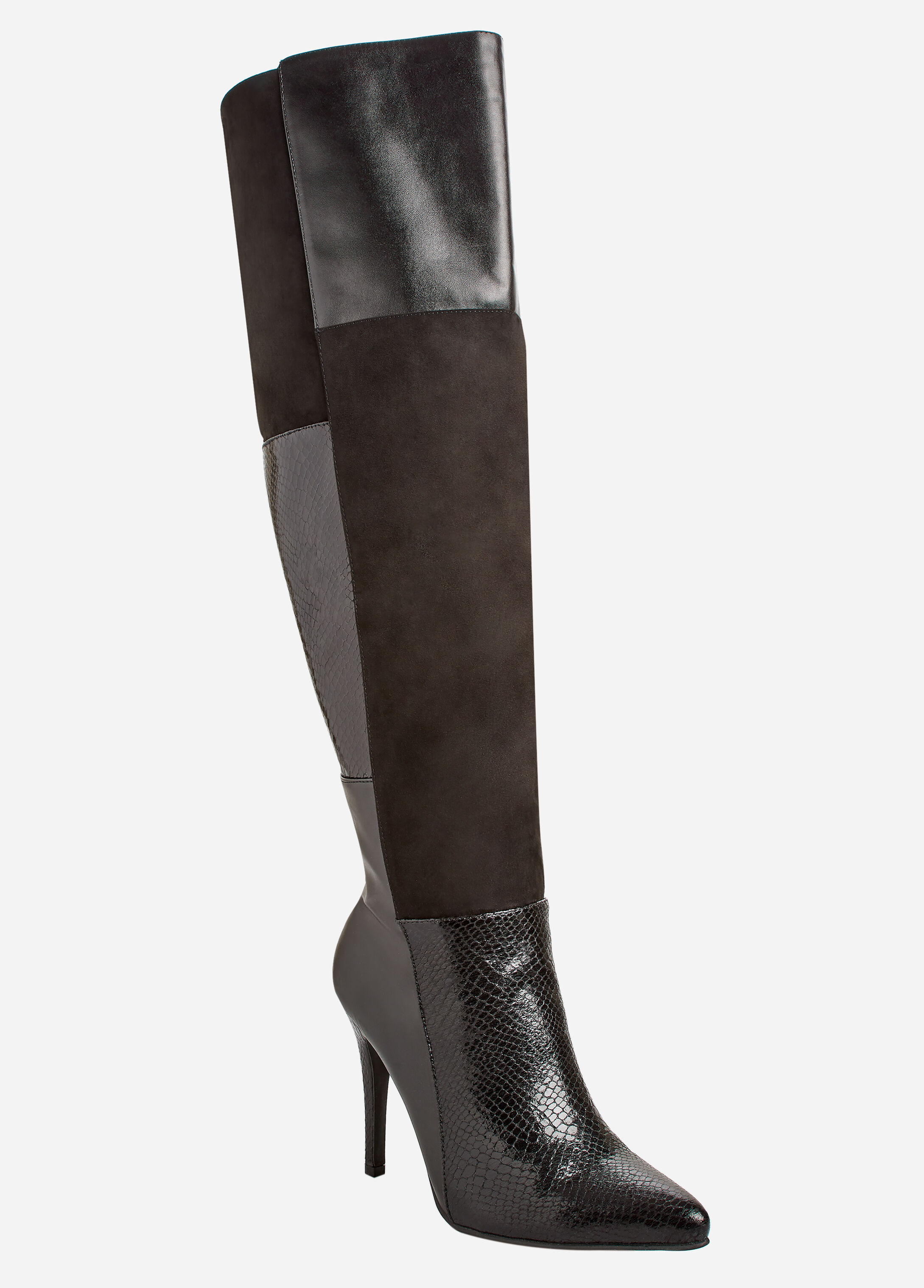 Faux Suede and Faux Leather Patchwork Boots - Wide Width